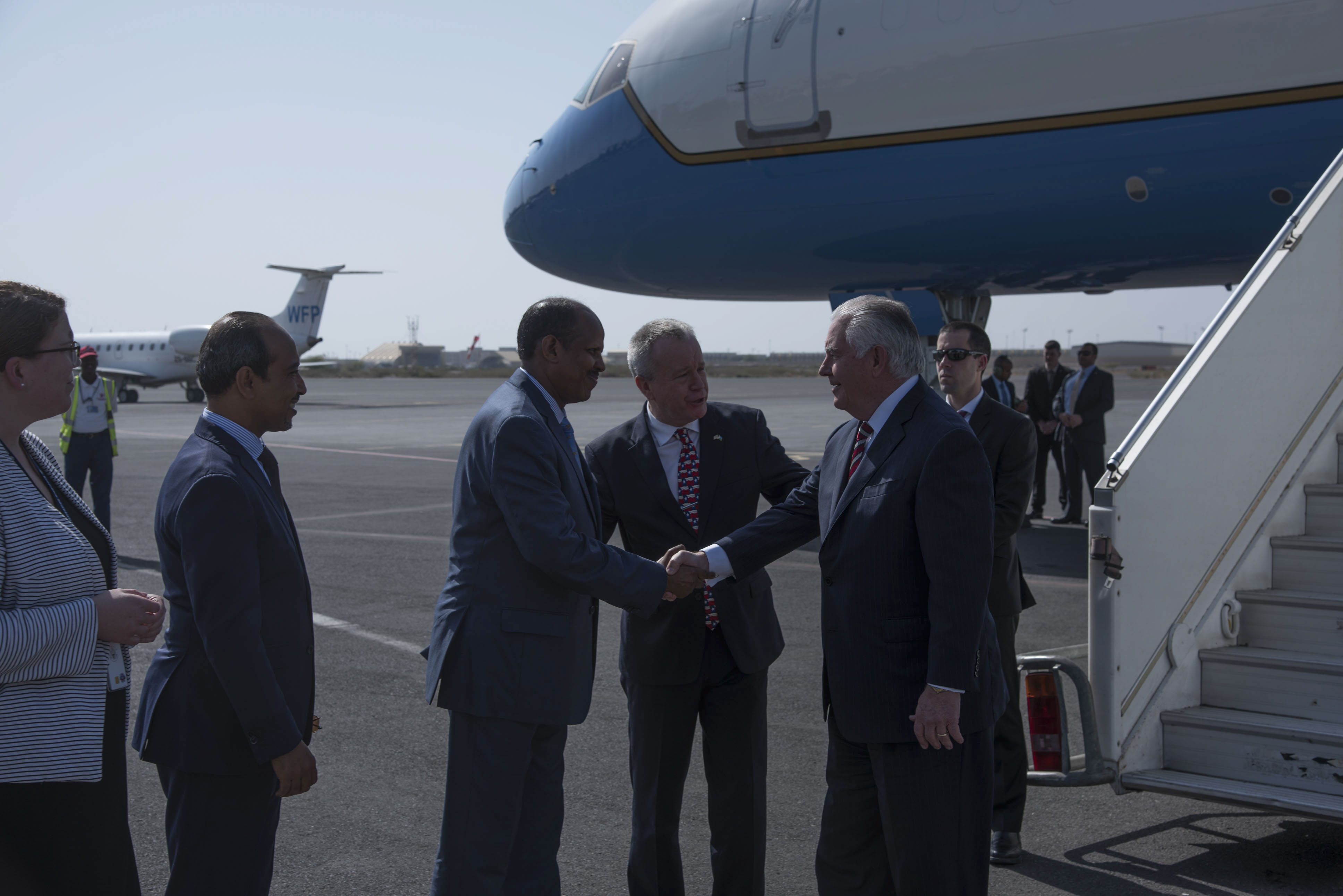 Foreign Minister Mahmoud Ali Youssouf greets U.S. Secretary of State Rex Tillerson at Djibouti International Airport, March 9, 2018. Secretary Tillerson met with Youssouf in Djibouti to discuss the U.S.-Djiboutian partnership, and exchanged views on bilateral concerns, security threats, and economic reforms. (U.S. Air National Guard photo by Staff Sgt. Allyson L. Manners)