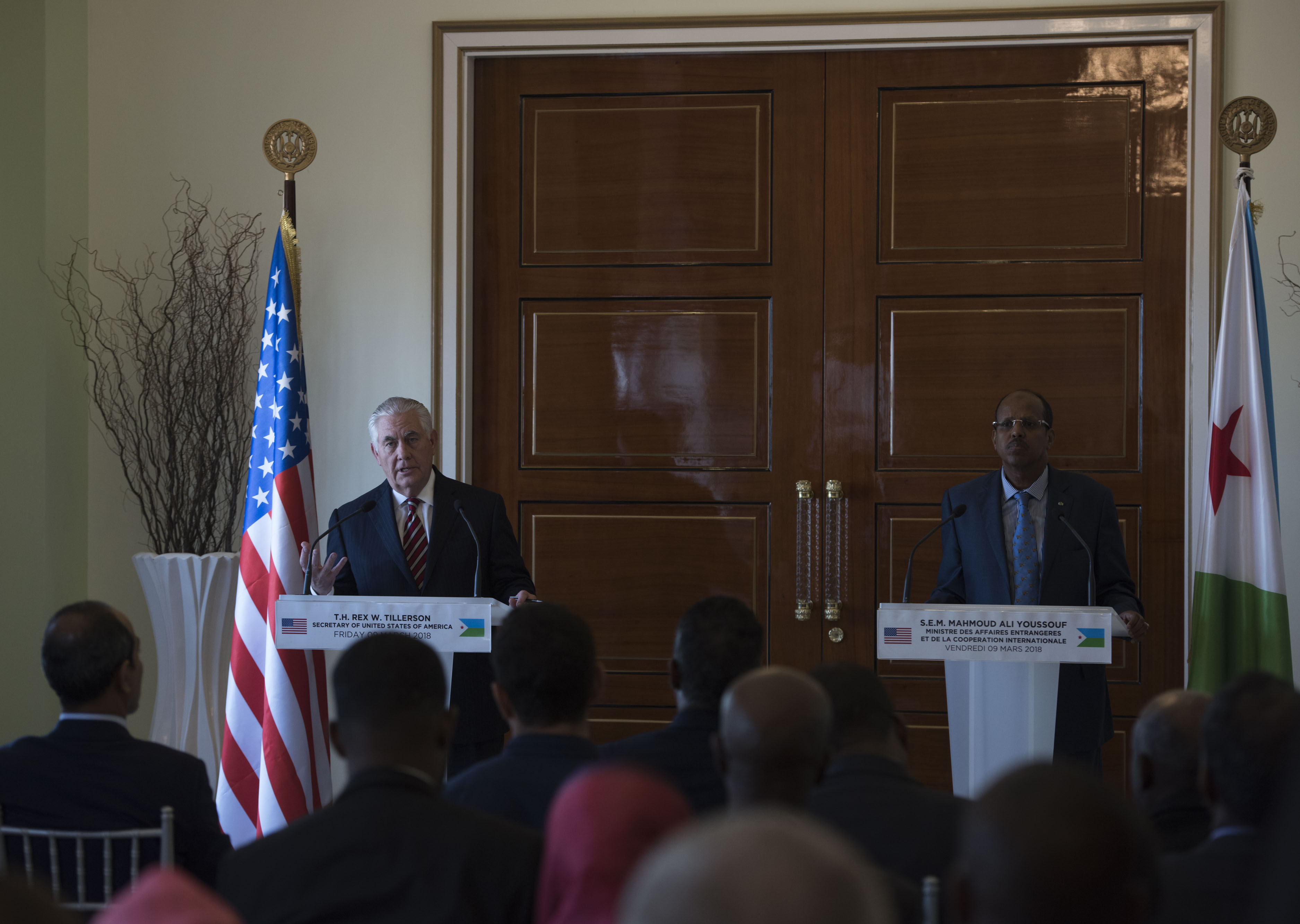 U.S. Secretary of State Rex Tillerson speaks at a joint press conference with the foreign minister Mahmoud Ali Youssouf at the Presidential Palace, Djibouti, March 9, 2018. Secretary Tillerson met with Youssouf in Djibouti to discuss the U.S.-Djiboutian partnership, and exchanged views on bilateral concerns, security threats, and economic reforms. (U.S. Air National Guard photo by Staff Sgt. Allyson L. Manners)