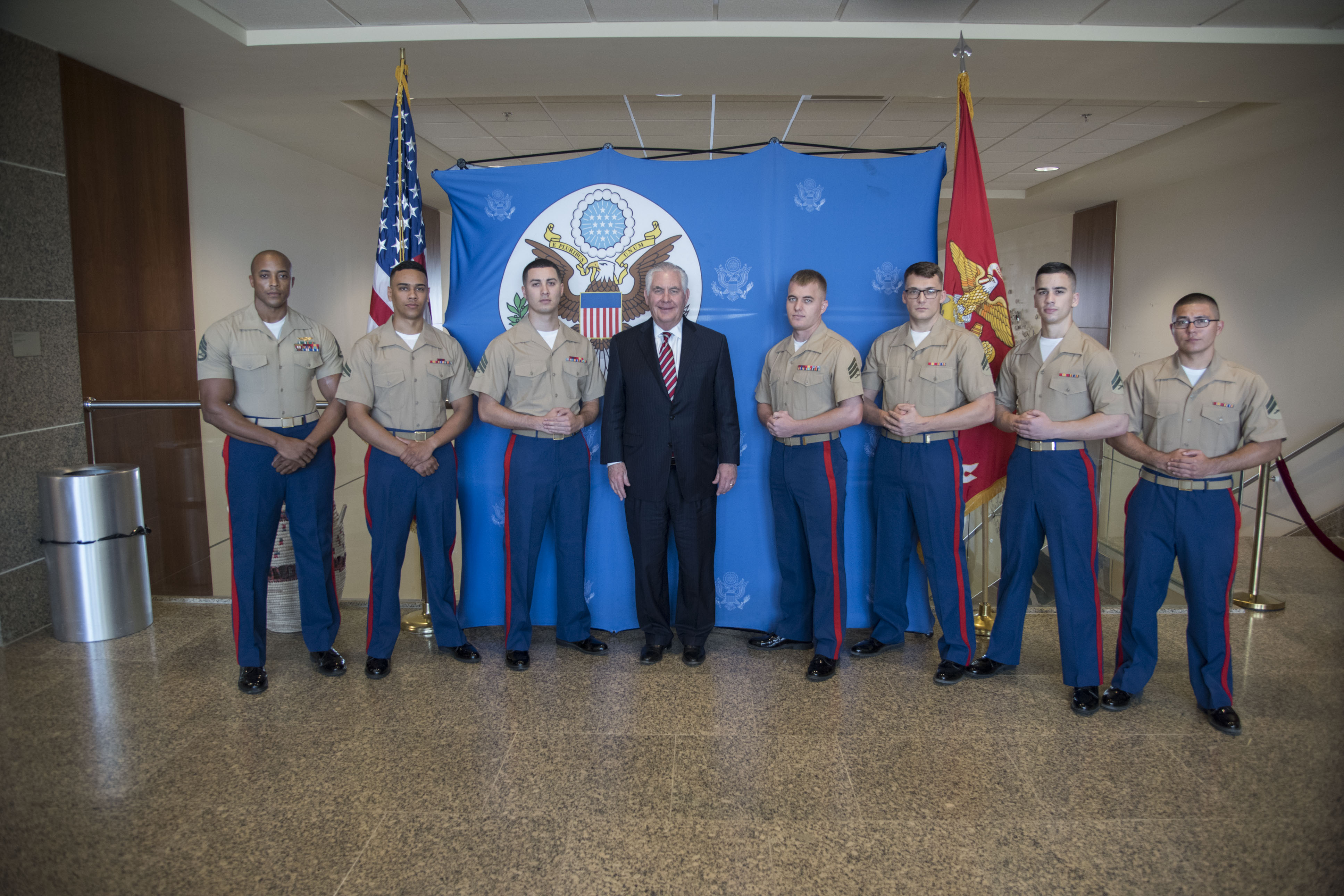 U.S. Secretary of State Rex Tillerson meets with the Marine Security Guard Detachment at the U.S. Embassy in Djibouti, March 9, 2018. Secretary Tillerson traveled to Djibouti to discuss the U.S.-Djiboutian partnership, and exchanged views on bilateral concerns, security threats, and economic reforms. (U.S. Air National Guard photo by Staff Sgt. Allyson L. Manners)