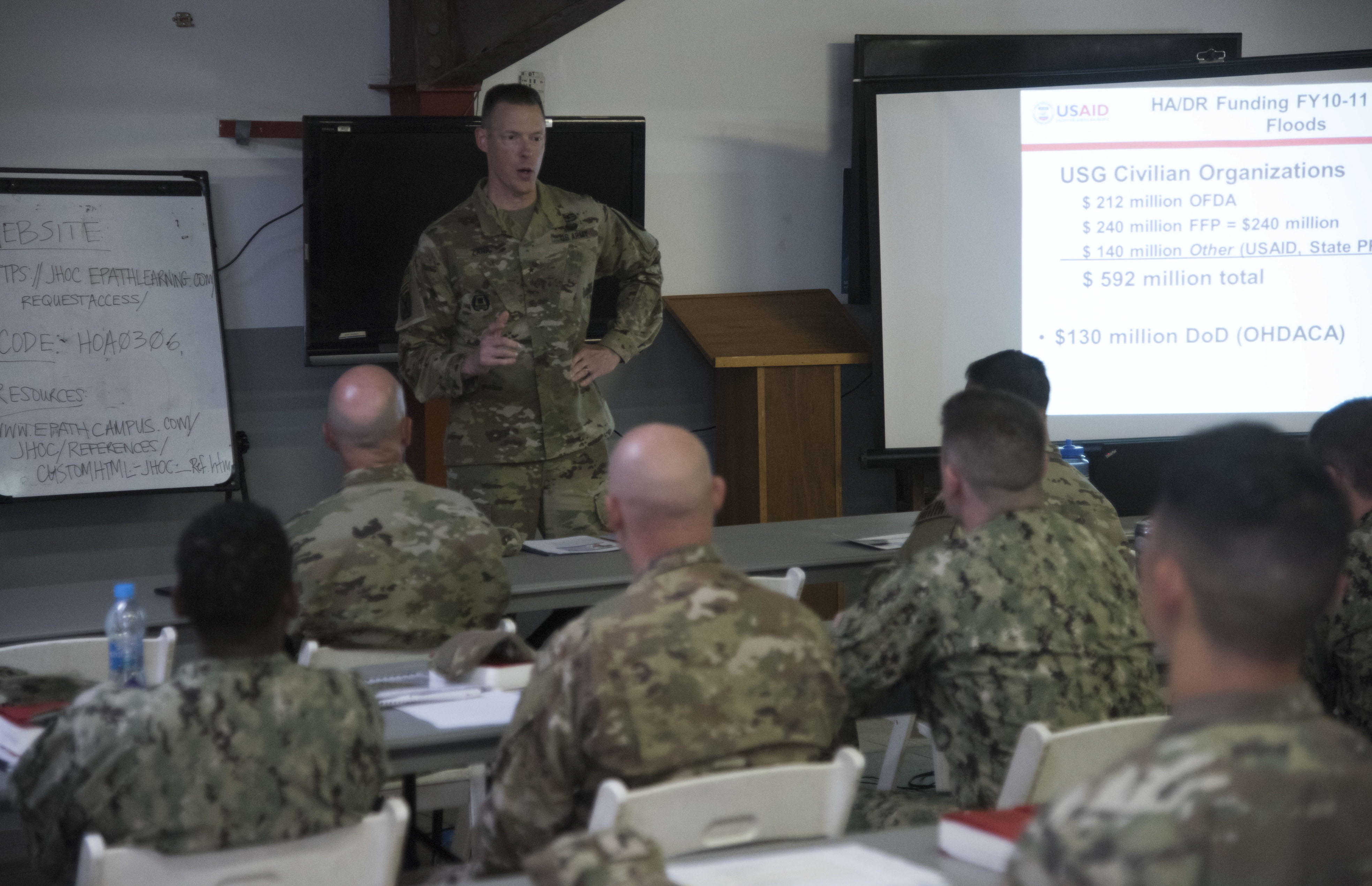 U.S. Army Brig. Gen. William L. Zana, Deputy Commanding General of Combined Joint Task Force - Horn of Africa, speaks to service members during a U.S. Agency for International Development's Joint Humanitarian Operations Course at Camp Lemonnier, Djibouti, March 7, 2018. Members attended the two-day course, which highlighted international disaster response, best practices and the U.S. military's role when supporting foreign humanitarian assistance and disaster relief operations. (U.S. Air National Guard photo by Staff Sgt. Allyson L. Manners)