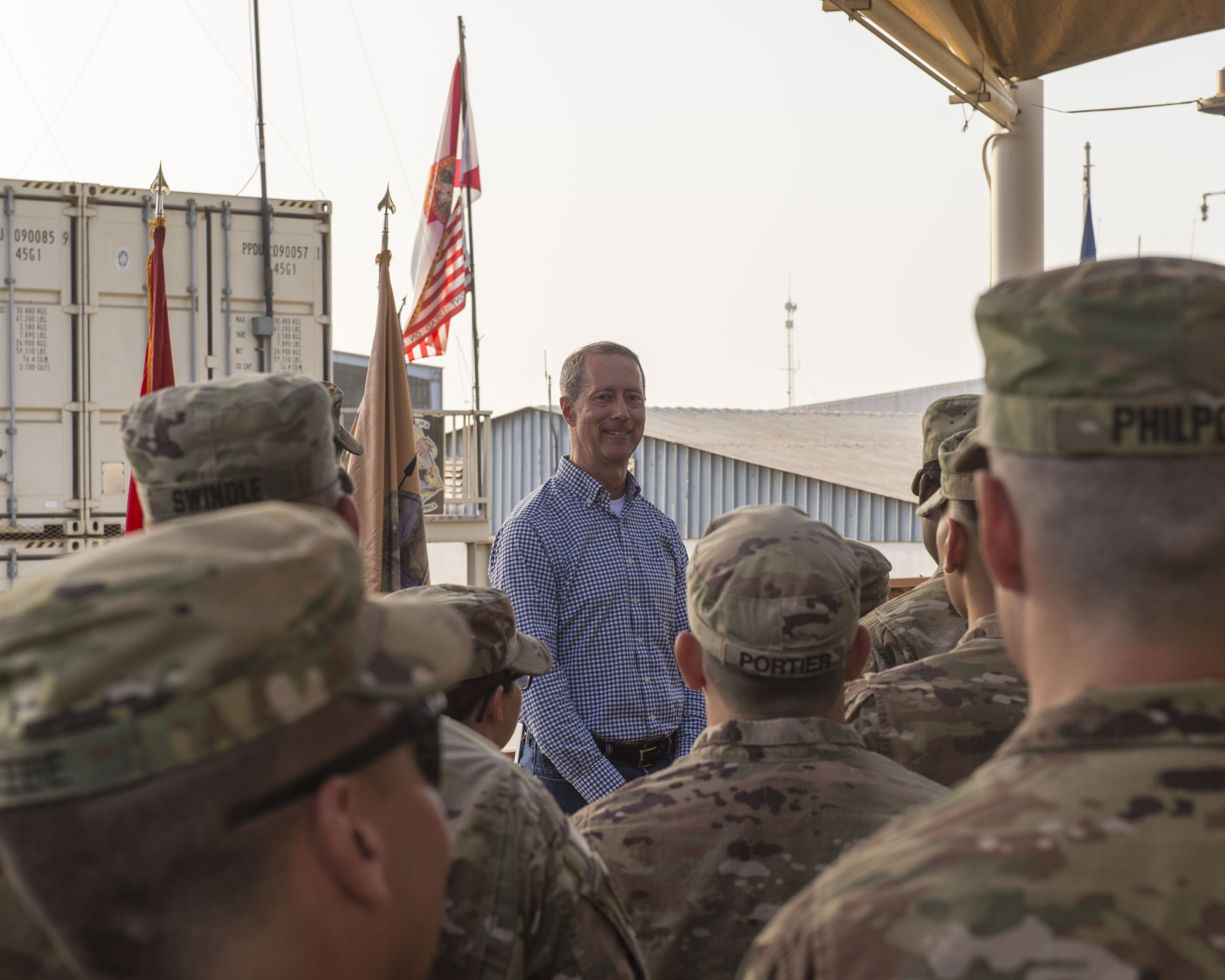 U.S. Rep. Mac Thornberry, 13th District of Texas, speaks with service members deployed to Camp Lemonnier, Djibouti, during a visit to the Combined Joint Task Force - Horn of Africa (CJTF-HOA) March 24, 2018. Thornberry, who is the U.S. House of Representatives Armed Services Committee Chairman, stopped by Camp Lemonnier before visiting other locations within the CJTF-HOA area of responsibility. The Armed Services Committee has the responsibility to oversee the Pentagon, all military services, and all Department of Defense agencies, including their budgets and policies. (U.S. Air Force photo by Staff Sgt. Timothy Moore)