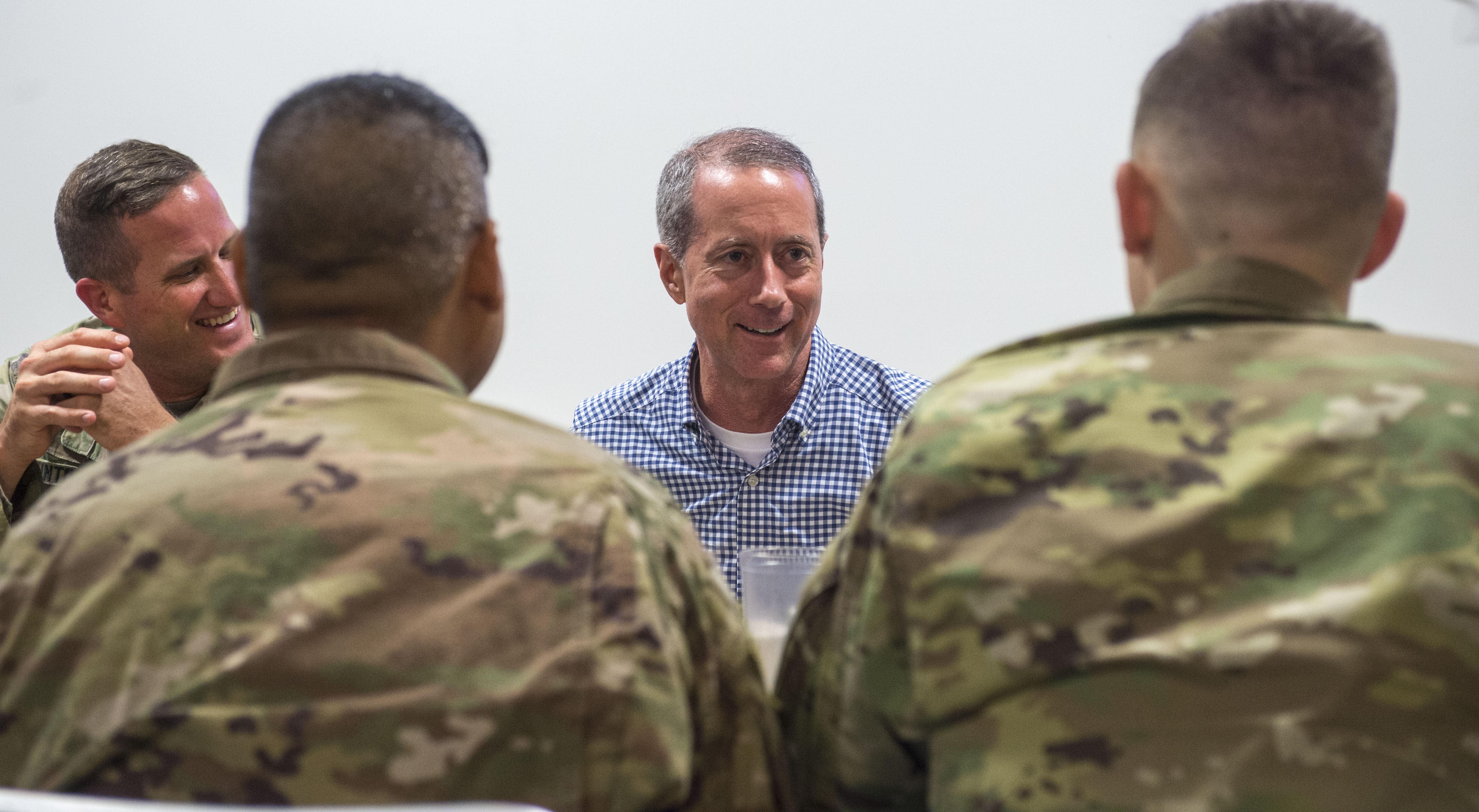 U.S. Rep. Mac Thornberry, 13th District of Texas, talks with service members deployed to Camp Lemonnier, Djibouti, during a visit to the Combined Joint Task Force - Horn of Africa (CJTF-HOA) March 24, 2018. Thornberry, who is the U.S. House of Representatives Armed Services Committee Chairman, stopped by Camp Lemonnier before visiting other locations within the CJTF-HOA area of responsibility. The Armed Services Committee has the responsibility to oversee the Pentagon, all military services, and all Department of Defense agencies, including their budgets and policies. (U.S. Air Force photo by Staff Sgt. Timothy Moore)