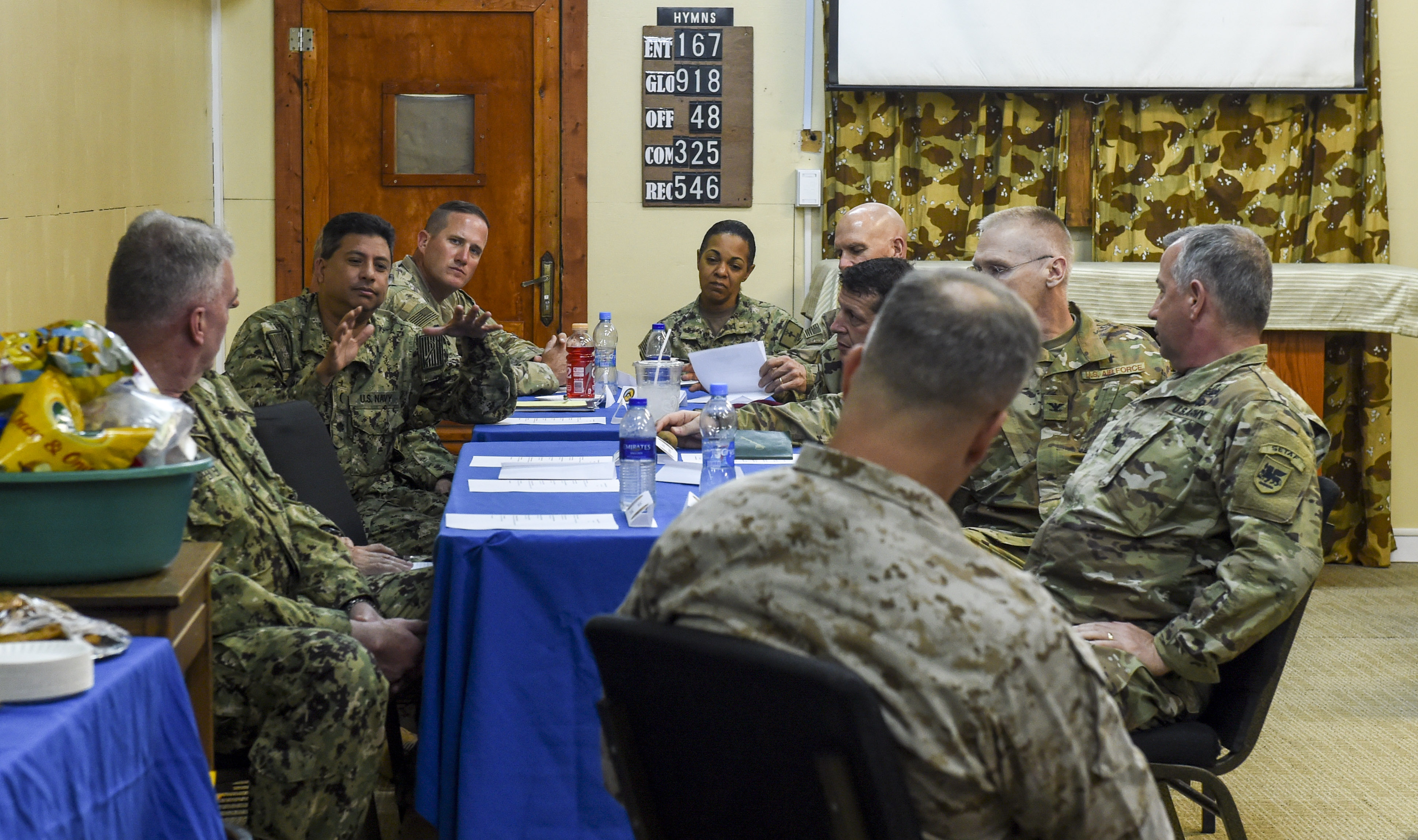 U.S. Navy Cmdr. Abuhena Saifuislam, deputy director of AFRICOM Religious Affairs, talks with Maj. Gen. David Furness, commanding general of Combined Joint Task Force-Horn of Africa (CJTF-HOA), and other chaplains and chaplain assistants during a religious affairs workshop at Camp Lemonnier, Djibouti, April 11, 2018. The CJTF-HOA Religious Affairs team hosted the workshop to synchronize and plan the support they provide for service members throughout the combined joint operating area. (U.S. Air Force photo by Staff Sgt. Timothy Moore)