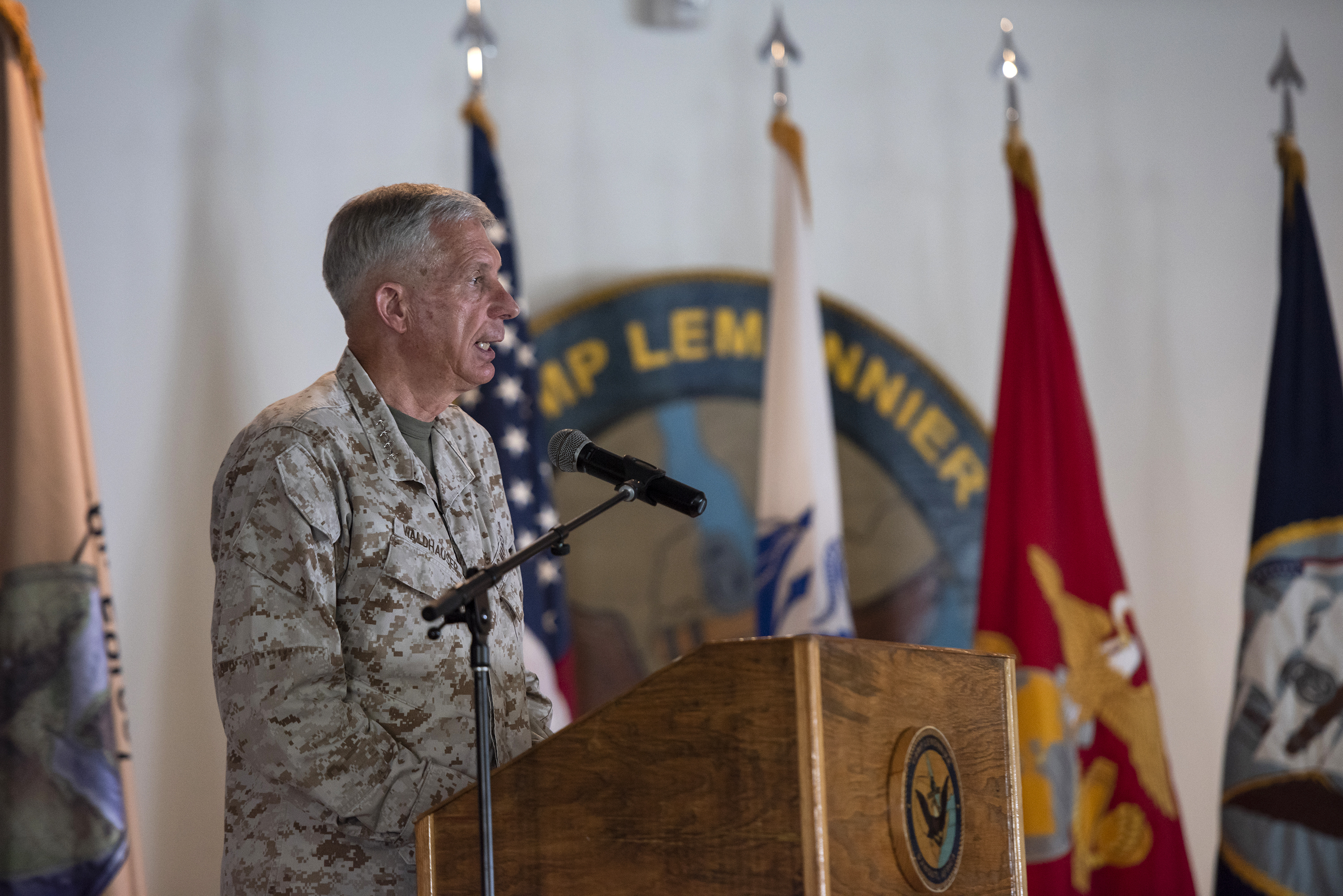U.S. Marine Corps Gen. Thomas Waldhauser, commander of United States Africa Command, speaks to service members serving for Combined Joint Task Force Horn of Africa on Camp Lemonnier, Djibouti, May 1, 2018. Waldhauser presided over the transfer of authority for CJTF-HOA from Maj. Gen. David Furness to U.S. Army Brig. Gen. William Zana. (U.S. Air National Guard photo by Master Sgt. Sarah Mattison)