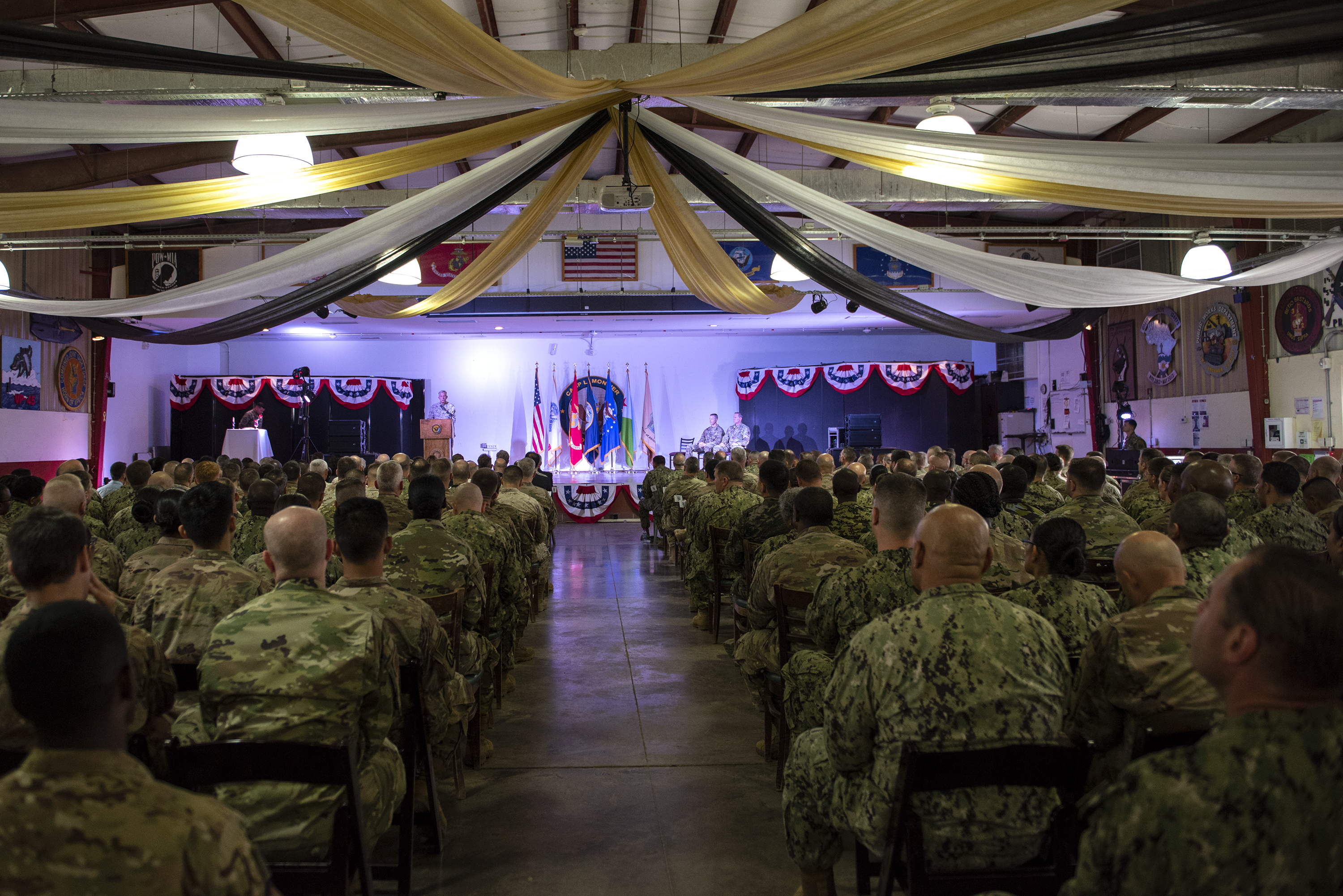 U.S. Marine Corps Gen. Thomas Waldhauser, commander of United States Africa Command, addresses distinguished guests and service members for Combined Joint Task Force Horn of Africa on Camp Lemonnier, Djibouti, June 14, 2018. Waldhauser presided over the change of command for CJTF-HOA from U.S. Army Maj. Gen. William Zana to Brig. Gen. James Craig. (U.S. Air National Guard photo by Master Sgt. Sarah Mattison)