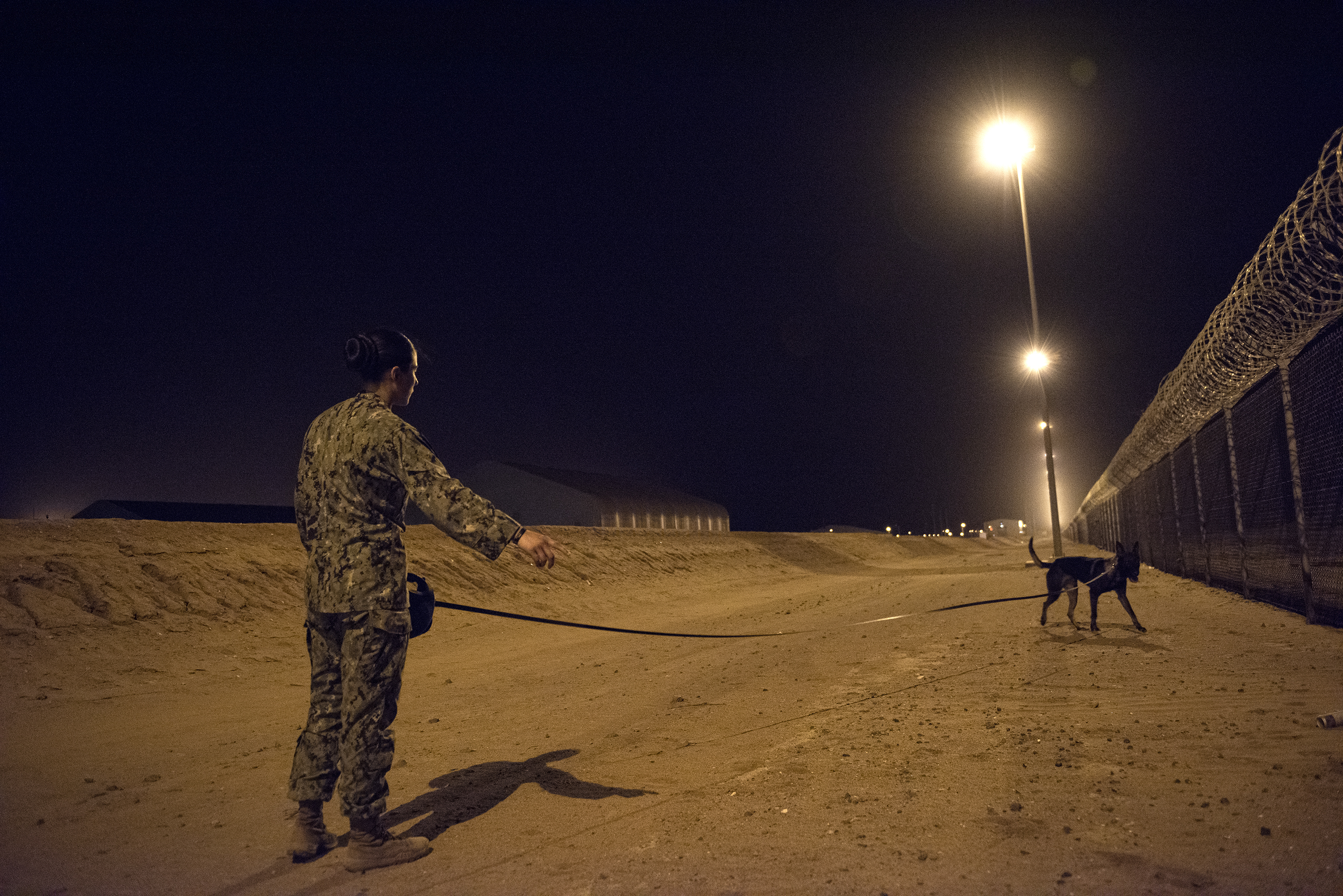 U.S. Navy Master-at-Arms 1st Class Kristina Vargas, a military working dog (MWD) handler gives a command to MWD Pponder while conducting proficiency training on Camp Lemonnier, Djibouti, July 31, 2018. Military Working Dogs can be used to perform searches, subdue suspects, and detect explosives and narcotics. (U.S. Air National Guard photo by Master Sgt. Sarah Mattison)