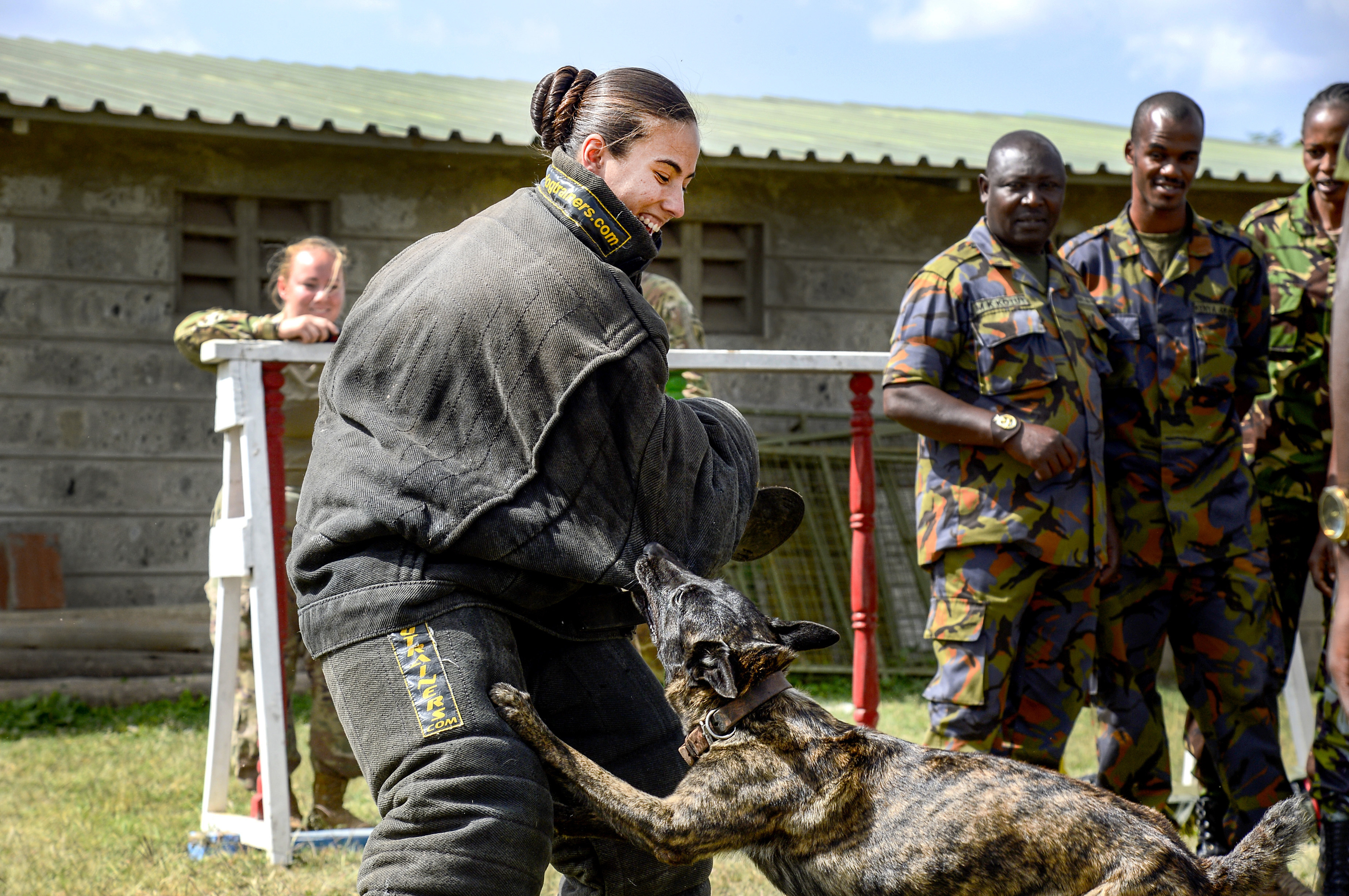 Master at Arms 1st Class Kristina Vargas, the Kennel Master assigned to Camp Lemonnier, conducts patrol work and demonstrates different techniques for members of the Kenyan Defense Force's 1st Canine Regiment during a Military Working Dog knowledge exchange, in Nairobi, Kenya, August 7, 2018. The exchange gave a chance for American and Kenyan forces to learn and work with each other to have a better understanding of each other's capabilities. (U.S. Navy Photo by Mass Communication Specialist 2nd Class Timothy M. Ahearn)