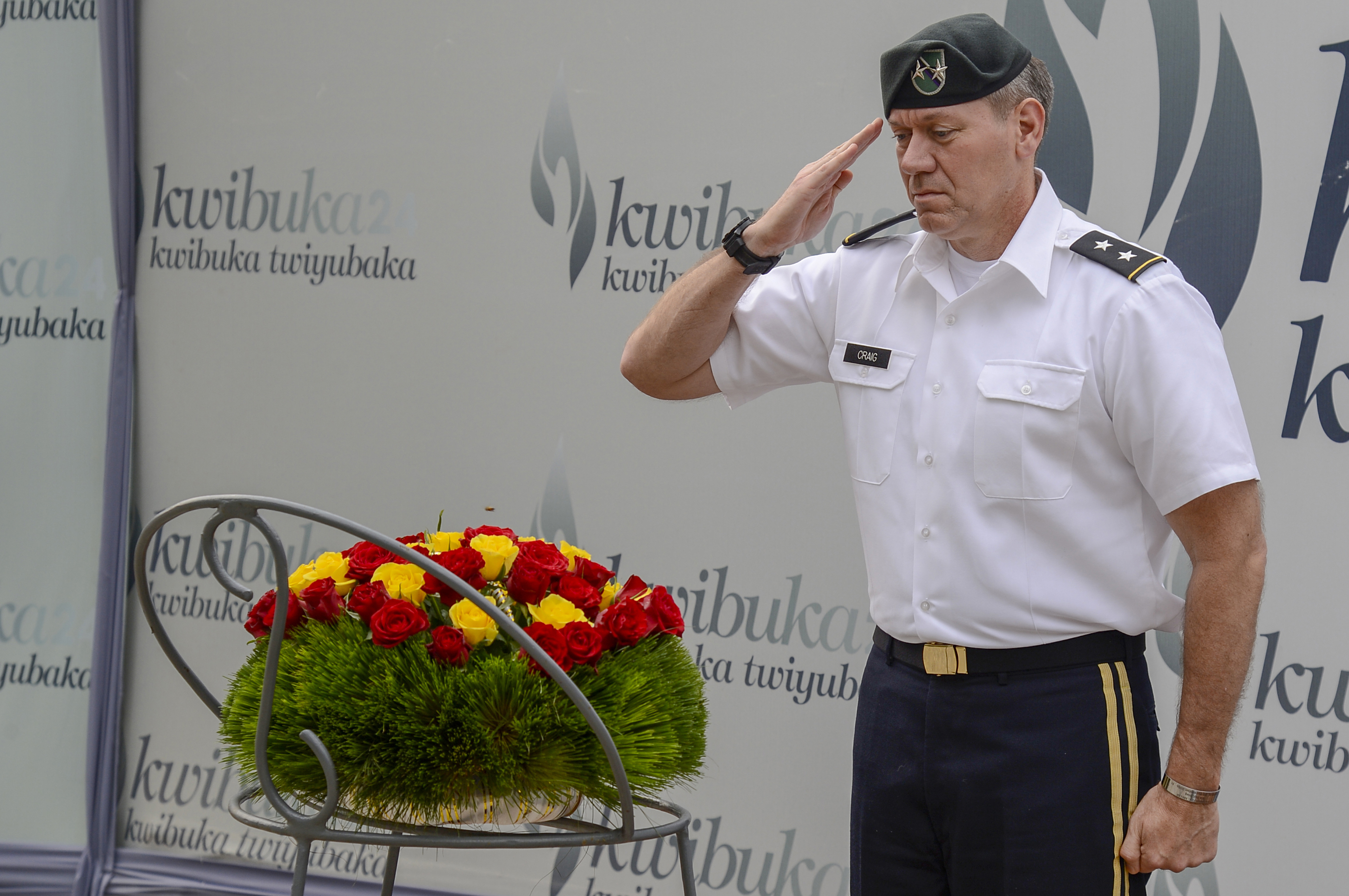 U.S. Army Maj. Gen. James Craig, commanding general of Combined Joint Task Force- Horn of Africa, pays his respects after laying a wreath at a tomb of 250,000 Rwandans killed during the Rwandan genocide at the Kigali Genocide Memorial in Kigali, Rwanda, Aug. 29, 2018. Craig visited Rwanda to conduct key leader engagements, meeting with both U.S. and Rwandan top leaders. (U.S. Navy Photo by Mass Communication Specialist 2nd Class Timothy M. Ahearn)