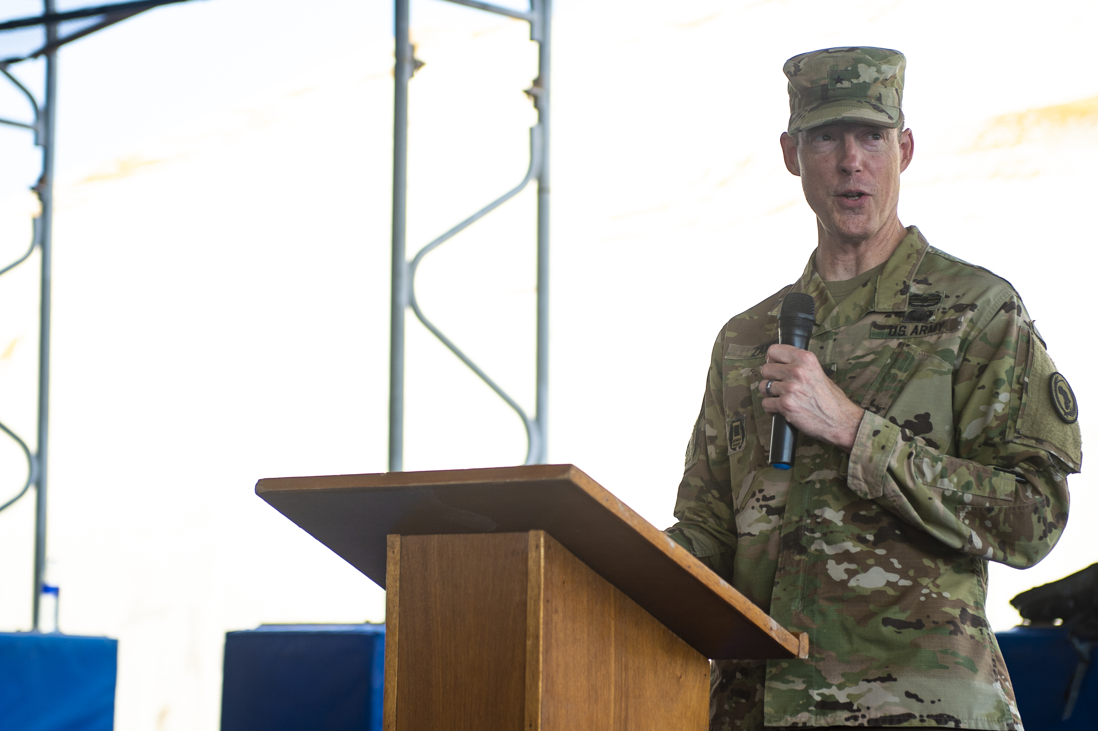 U.S. Army Brig. Gen. William Zana, deputy commanding general Combined Joint Task Force Horn of Africa, speaks during the Civil Affairs transfer of authority ceremony on Camp Lemonnier, Djibouti, Oct. 13, 2018. The 404th CA Battalion transferred its authority to the 403rd CA Battalion, who will now continue the mission throughout the Horn of Africa. (U.S. Air Force photo by Senior Airman Scott Jackson)