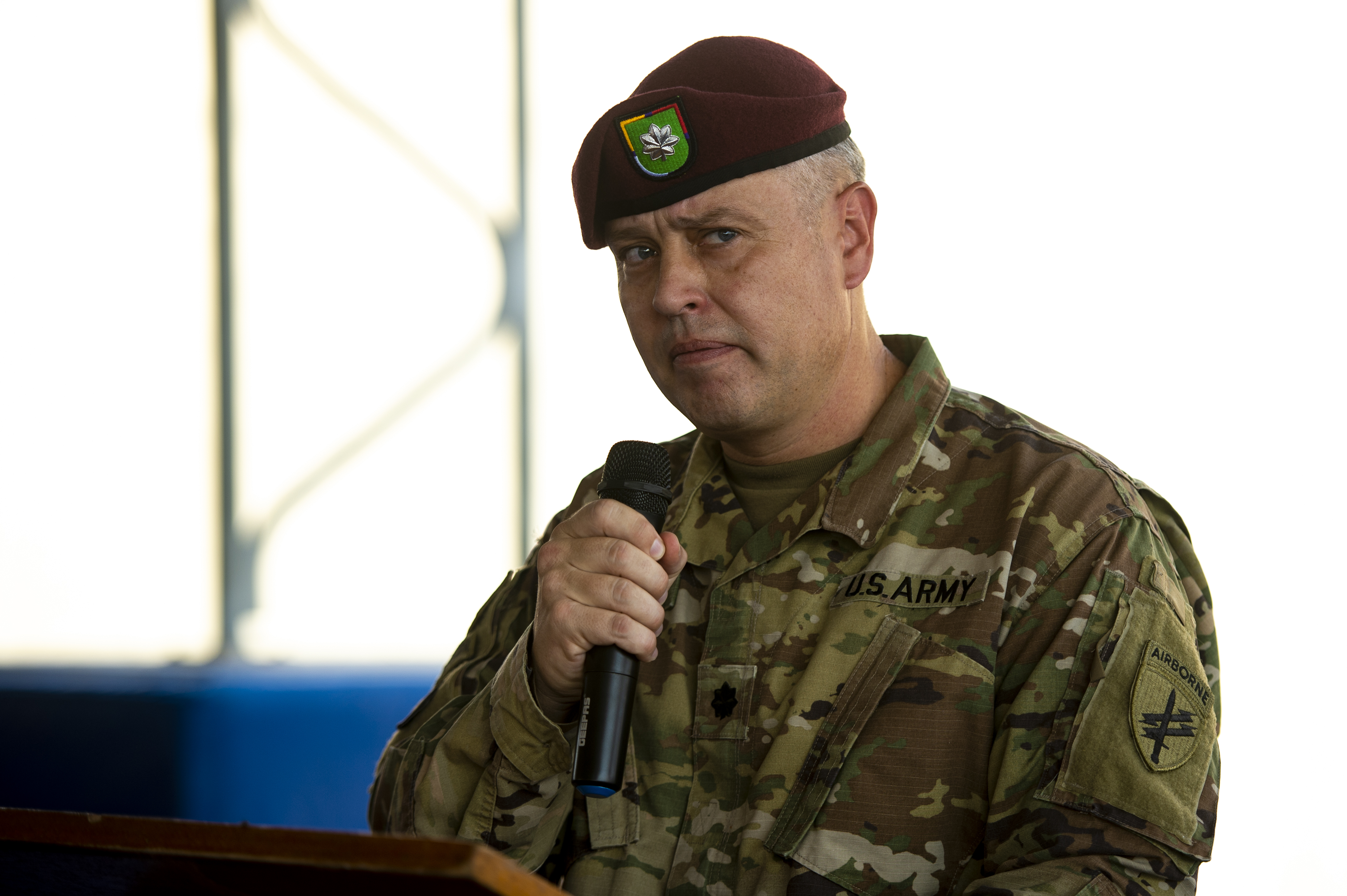 U.S. Army Lt. Col. Stefan Adamcik, commander 404th Civil Affairs Battalion, speaks during a transfer of authority ceremony on Camp Lemonnier, Djibouti, Oct. 13, 2018. The 404th CA Battalion transferred its authority to the 403rd CA Battalion, who will now continue the mission throughout the Horn of Africa. (U.S. Air Force photo by Senior Airman Scott Jackson)