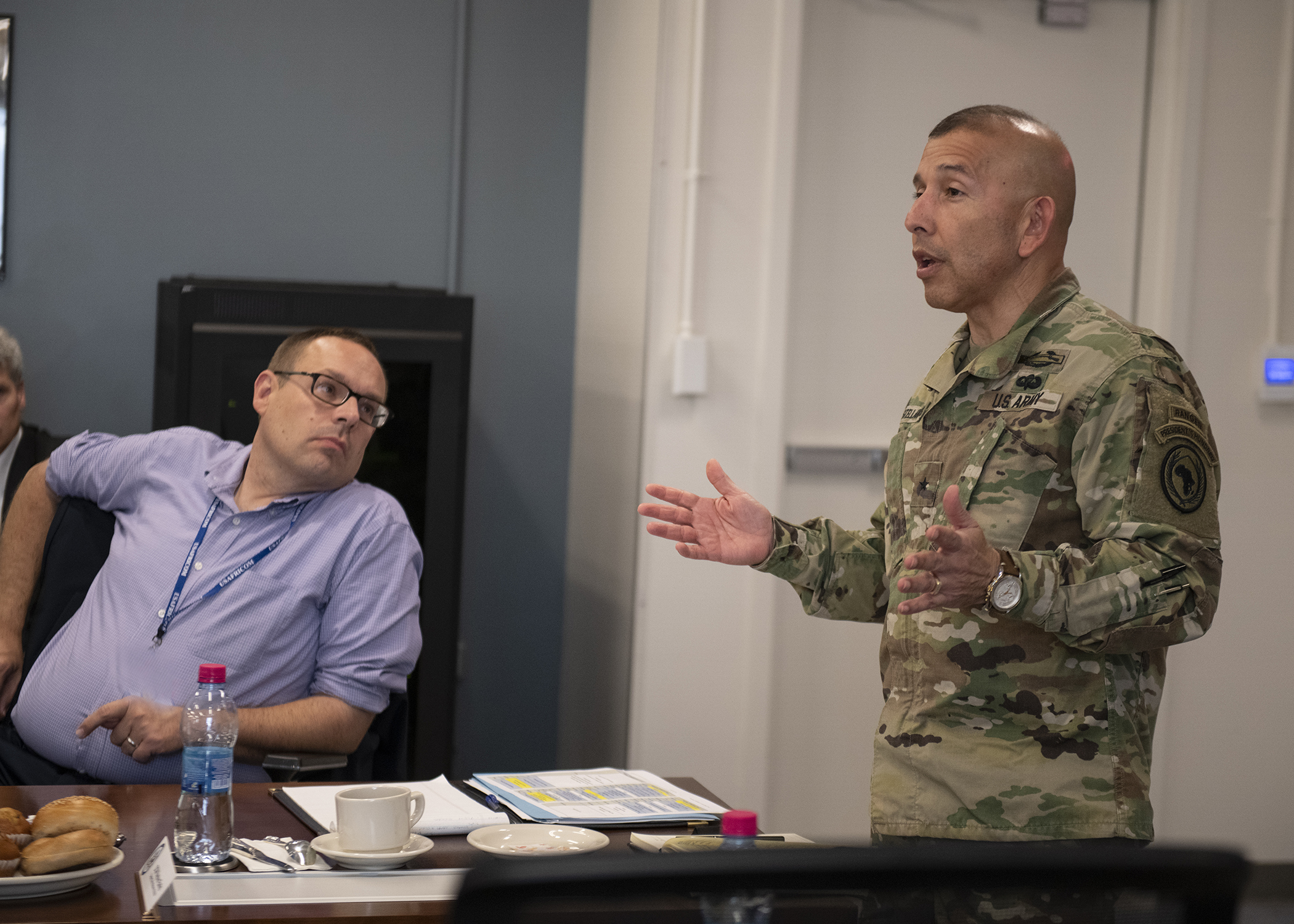 "U.S. Army Brig. Gen. Miguel Castellanos, deputy commanding general - Somalia, Combined Joint Task Force-Horn of Africa (CJTF-HOA), presents thoughts after a briefing titled ""Triggers of Regional Instability"" during the East Africa Security Forum (EASF) at Camp Lemonnier, Djibouti, Dec. 11, 2018. The EASF is an annual opportunity for CJTF-HOA and interagency leaders to sync, assess and align efforts to develop synchronized courses of action that support common goals. (U.S. Air Force photo by Tech. Sgt. Shawn Nickel)"