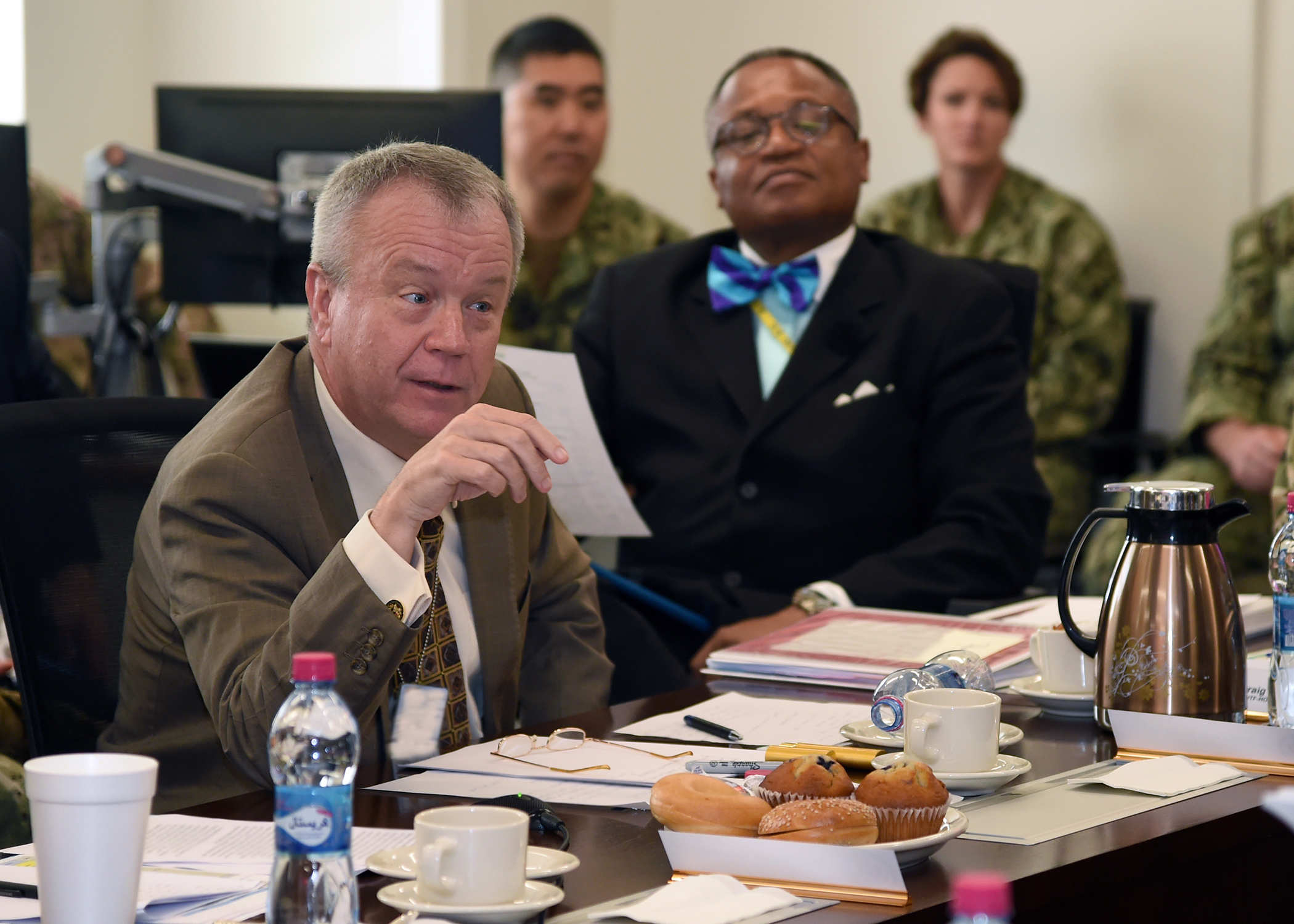 Amb. Larry André, U.S. Ambassador to Djibouti, addresses U.S. diplomats and joint service personnel during a meeting at the Combined Joint Task Force-Horn of Africa (CJTF-HOA) East Africa Security Forum (EASF) at Camp Lemonnier, Djibouti Dec. 12, 2018. The EASF provides opportunities for CJTF-HOA and interagency leaders to assess and align efforts, and develop synchronized courses of action that support common goals. (U.S. Navy photo by Mass Communication Specialist 1st Class Nick Scott)