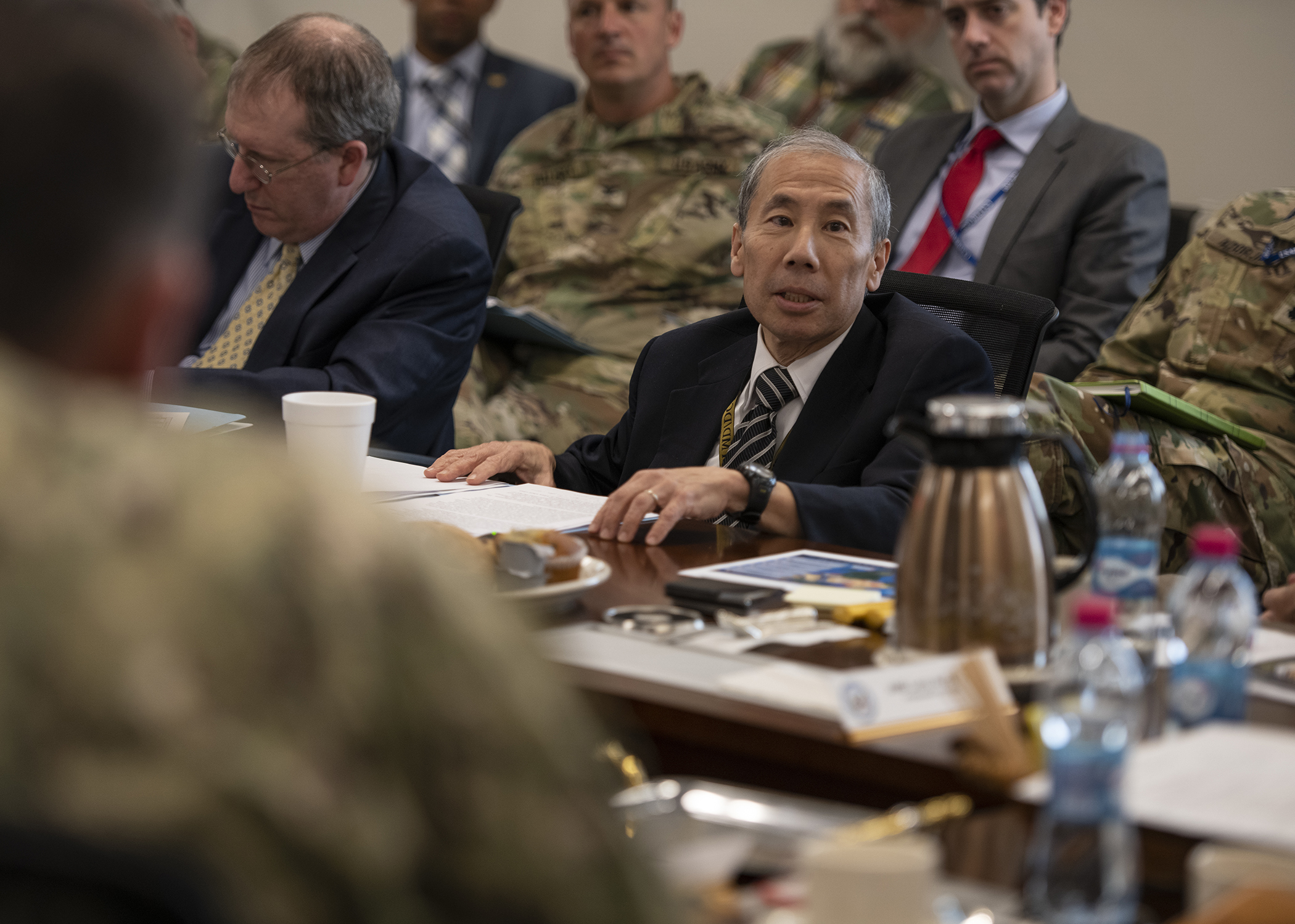 "Amb. Donald Yamamoto, U.S. Ambassador to Somalia, presents a briefing titled ""Triggers of Regional Instability"" during the Combined Joint Task Force-Horn of Africa (CJTF-HOA) East Africa Security Forum (EASF) at Camp Lemonnier, Djibouti, Dec. 11, 2018. The EASF is an annual opportunity for CJTF-HOA and interagency leaders to sync, assess and align efforts to develop synchronized courses of action that support common goals. (U.S. Air Force photo by Tech. Sgt. Shawn Nickel)"