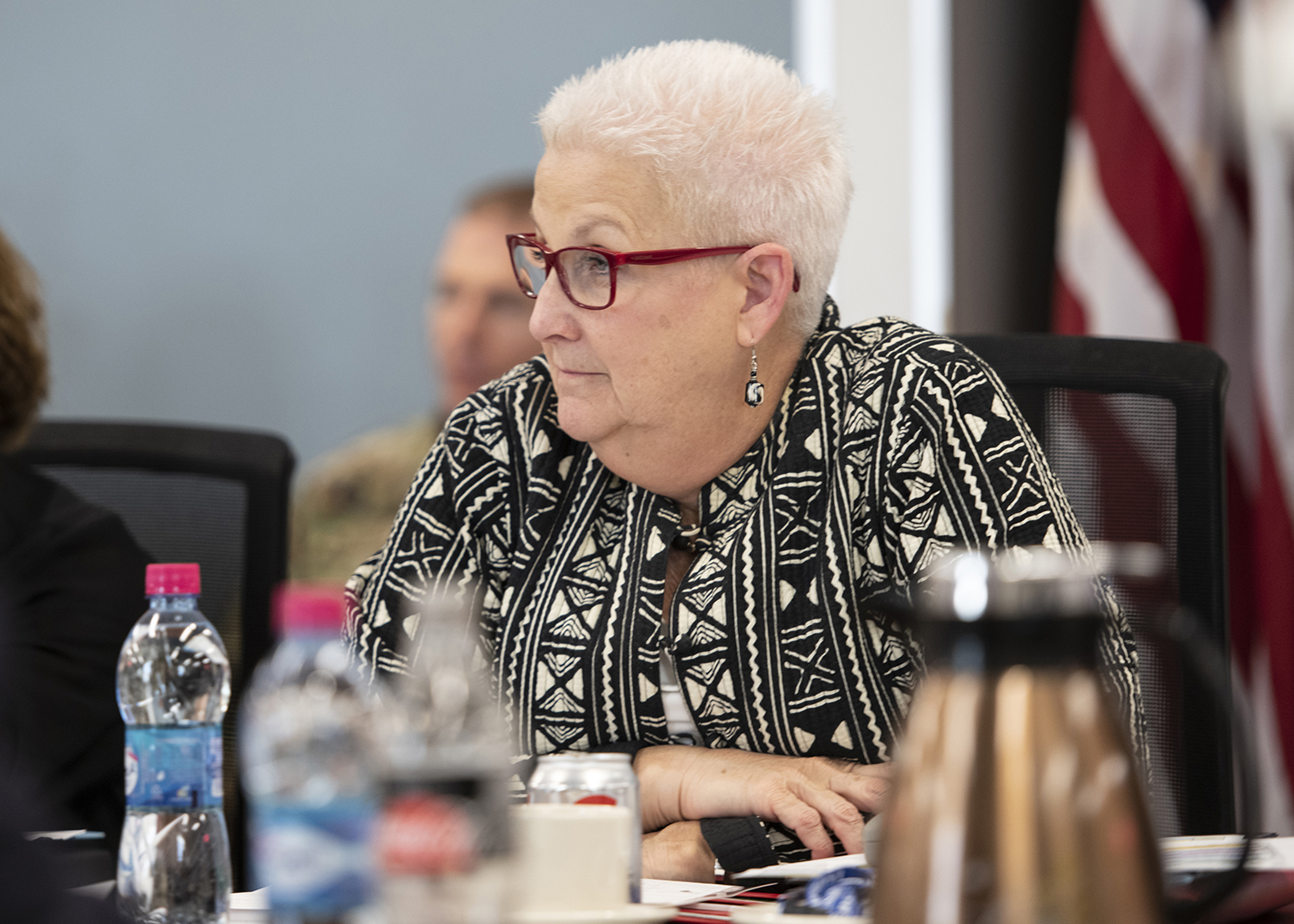 "Amb. Deborah Malac, U.S. Ambassador to Uganda, listens to a briefing titled ""Triggers of Regional Instability"" during the Combined Joint Task Force-Horn of Africa (CJTF-HOA) East Africa Security Forum (EASF) at Camp Lemonnier, Djibouti, Dec. 11, 2018. The EASF is an annual opportunity for CJTF-HOA and interagency leaders to sync, assess and align efforts to develop synchronized courses of action that support common goals. (U.S. Air Force photo by Tech. Sgt. Shawn Nickel)"