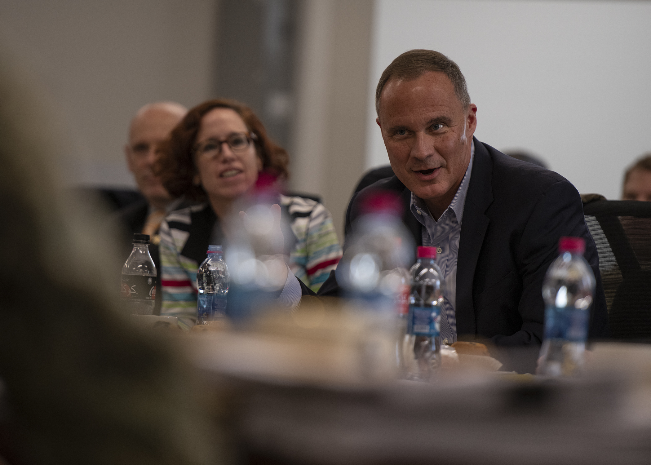 "Amb. Michael Raynor, U.S. Ambassador to Ethiopia, presents thoughts after a briefing titled ""Triggers of Regional Instability"" during the East Africa Security Forum (EASF) at Camp Lemonnier, Djibouti, Dec. 11, 2018. The EASF is an annual opportunity for CJTF-HOA and interagency leaders to sync, assess and align efforts to develop synchronized courses of action that support common goals. (U.S. Air Force photo by Tech. Sgt. Shawn Nickel)"