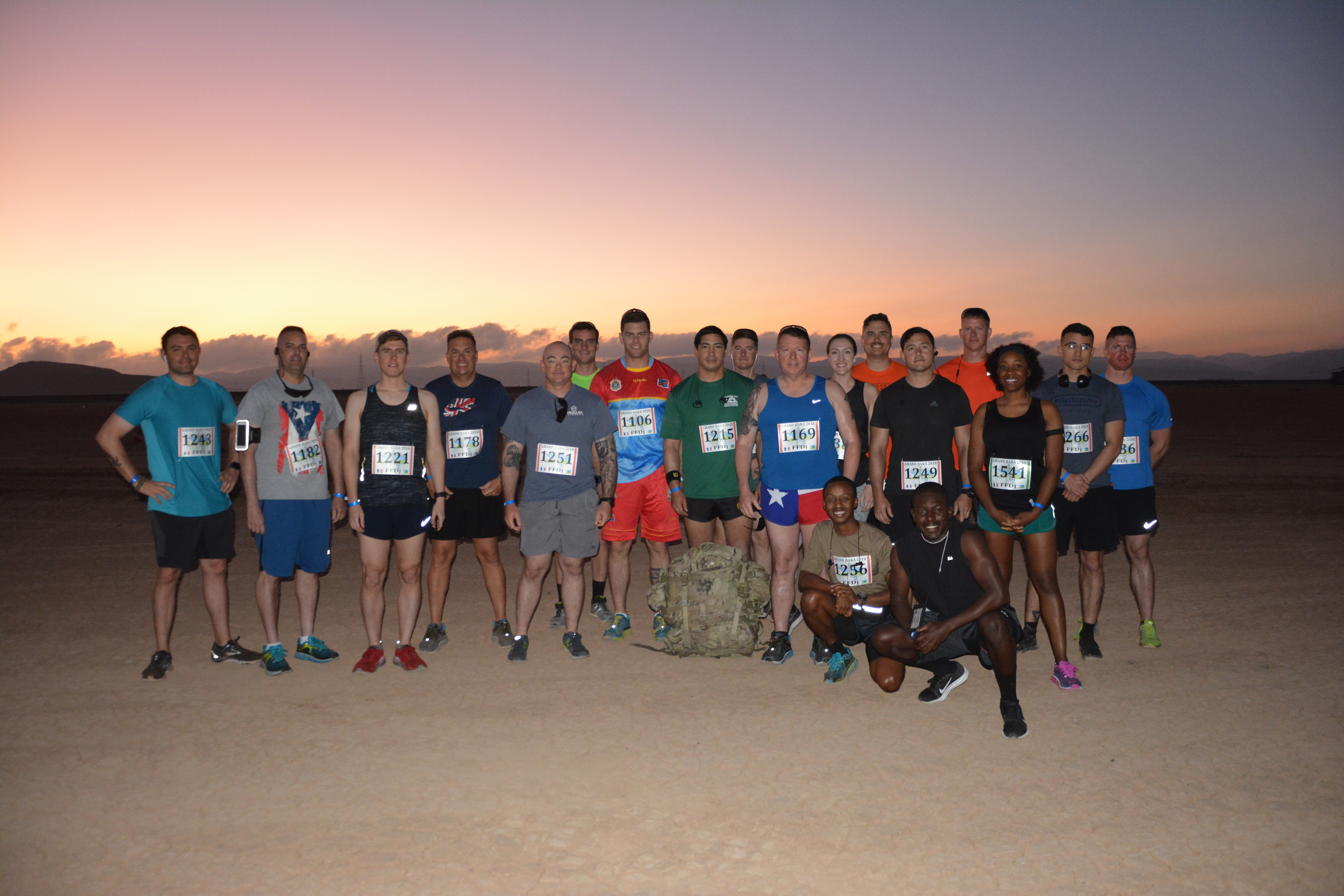 Task Force Alamo, a U.S. Army Reserve unit from Texas, gathered before the race. Nearly 200 members of Combined Joint Task Force – Horn of Africa ran alongside 2,500 Djiboutian, Chinese, and coalition service members and civilians during the 15k (9.3 mile) race across a stretch of Djibouti's Grand Bara Desert, Dec. 13. (U.S. Army photo by Capt. Olivia Cobiskey)