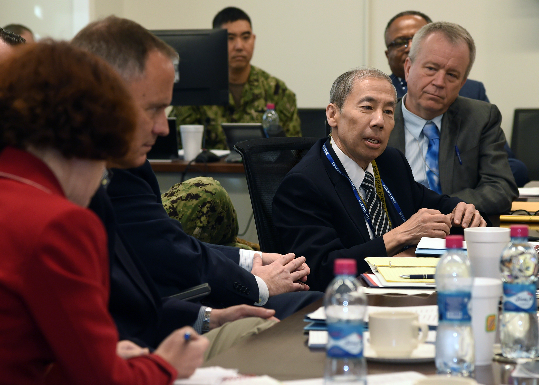 Amb. Donald Yamamoto, U.S. Ambassador to Somalia, addresses U.S. diplomats and joint service personnel at a meeting during the Combined Joint Task Force-Horn of Africa (CJTF-HOA) East Africa Security Forum (EASF) at Camp Lemonnier, Djibouti Dec. 13, 2018. The EASF provides opportunities for CJTF-HOA and interagency leaders to assess and align efforts, and develop synchronized courses of action that support common goals. (U.S. Navy photo by Mass Communication Specialist 1st Class Nick Scott)