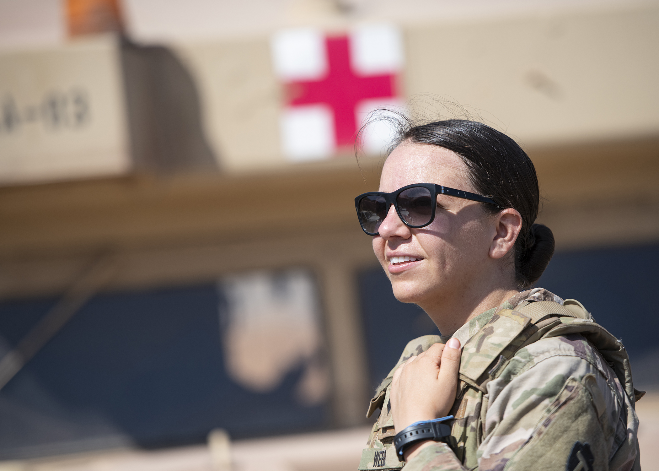 U.S. Army Spc. Natalia Webb, a medical technician from 1-141 Infantry Regiment, Task Force Alamo, Texas National Guard, assigned to CJTF-HOA, and the only female to earn the German Armed Forces Badge for military proficiency (GAFB) this rotation, poses for a photo during the marksmanship portion of the GAFB at the Arta Range Complex, Djibouti, Jan. 17, 2019. Competing for the badge offered a unique opportunity to Soldiers and worked as an information exchange between the U.S. and Germany militaries. (U.S. Air Force photo by Tech. Sgt. Shawn Nickel)