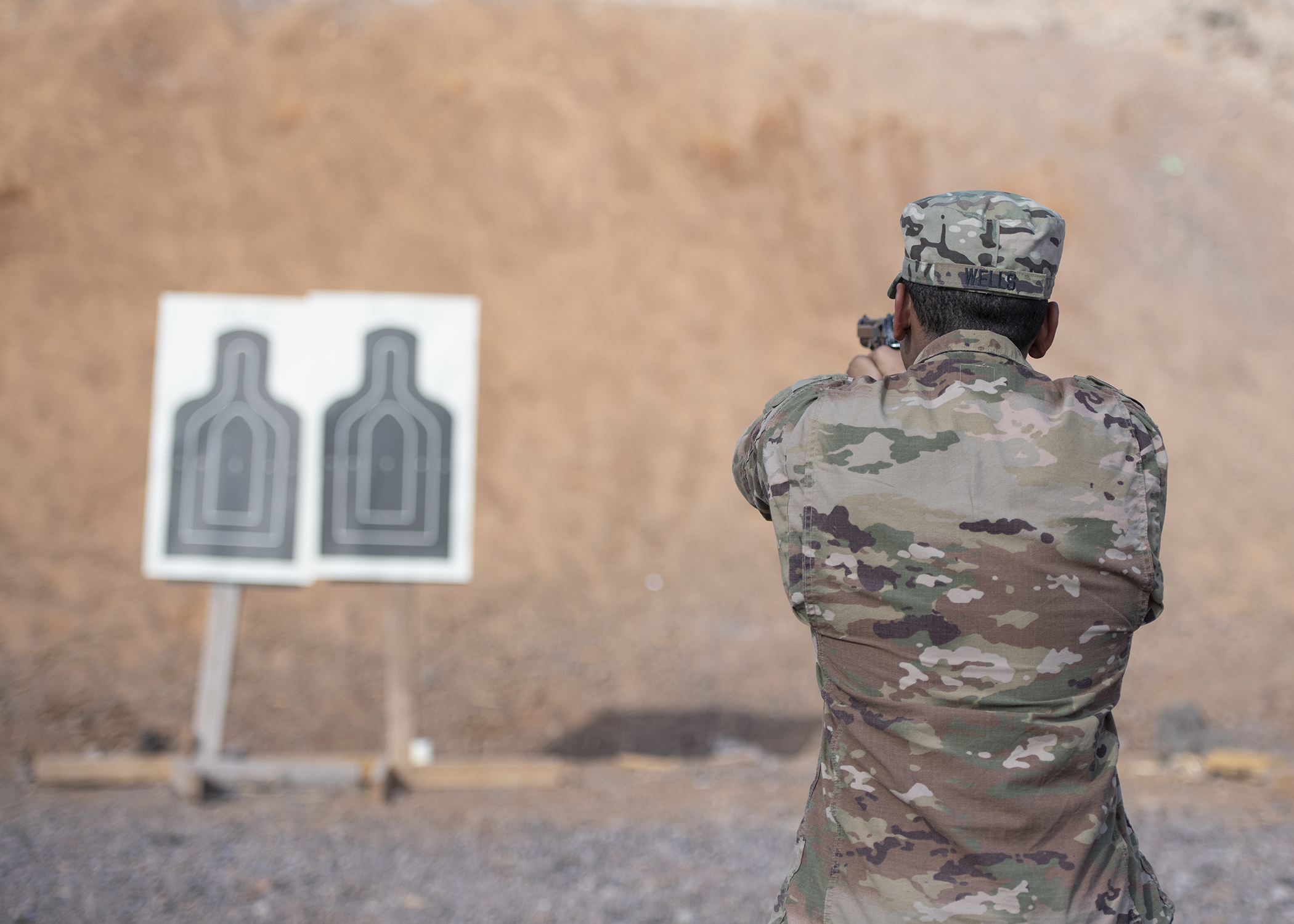 A U.S. Army Soldier from 1-141 Infantry Regiment, Task Force Alamo, Texas National Guard, assigned to Combined Joint Task Force-Horn of Africa, practices before the official marksmanship portion of the German Armed Forces Badge for military proficiency at the Arta Range Complex, Djibouti, Jan. 17, 2019. Competing for the badge offered a unique opportunity to Soldiers and worked as an information exchange between the U.S. and Germany militaries. (U.S. Air Force photo by Tech. Sgt. Shawn Nickel)