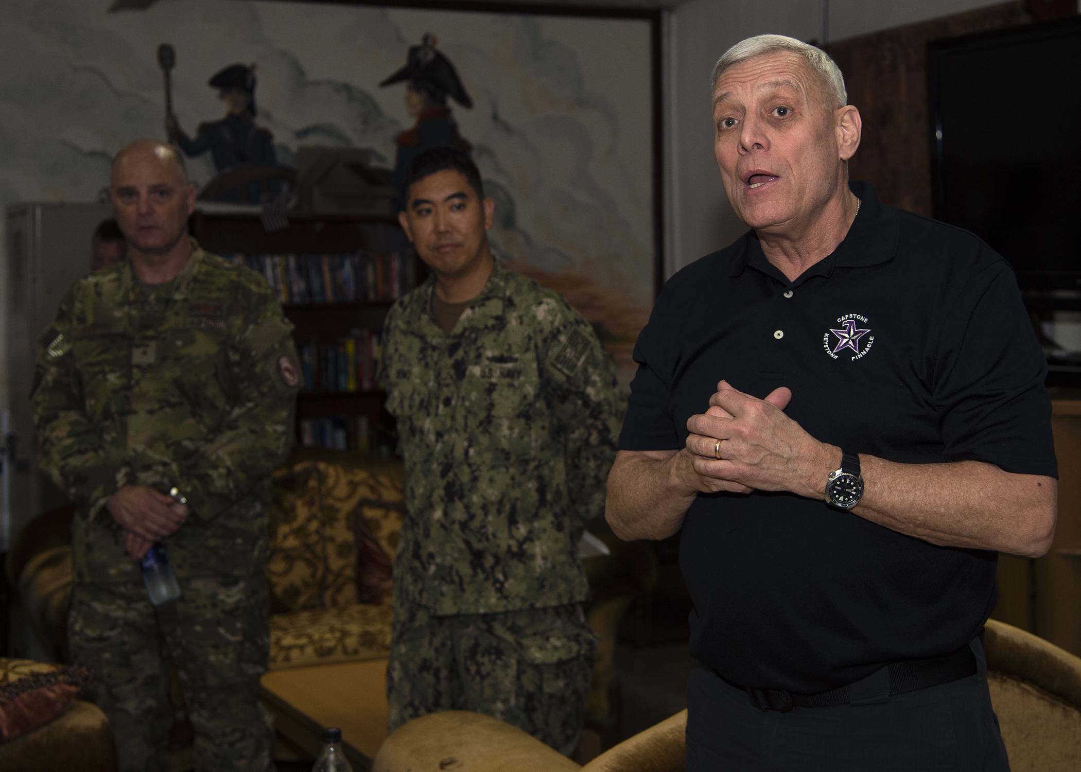 U.S. Marine Corps Gen. (ret.) John Paxton speaks at a meet-and-greet as part of the Capstone Military Leadership Program at Camp Lemonnier, Djibouti, Feb. 13, 2019. Capstone is a joint-service professional military education course for newly-promoted brigadier generals and rear admirals serving in the U.S. military. (U.S. Navy photo by Mass Communication Specialist 1st Class Nick Scott)