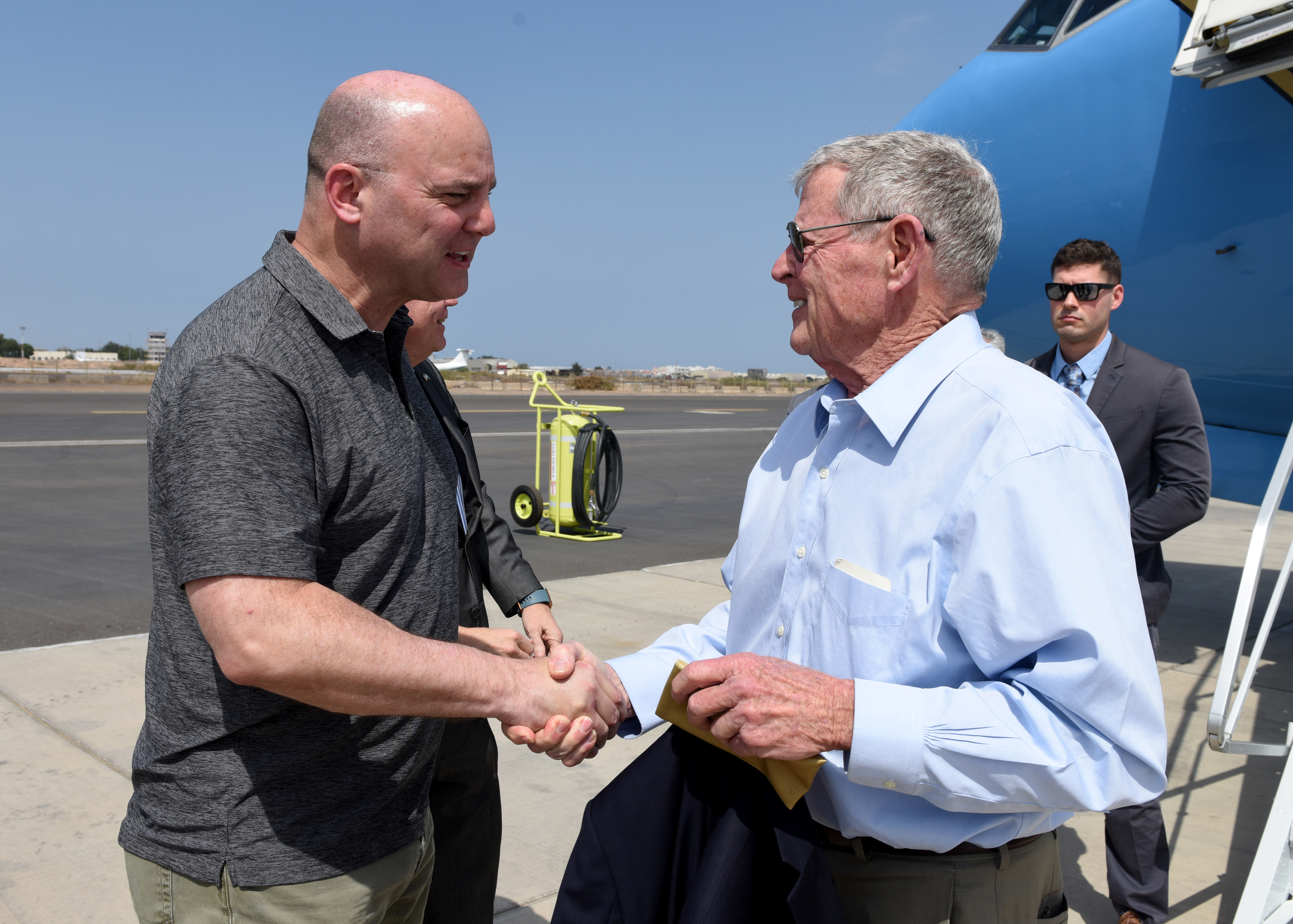 U.S. Air Force Brig. Gen. James R. Kriesel, deputy commanding general of Combined Joint Task Force-Horn of Africa, greets U.S. Sen. James Inhofe (R-Okla.) during a visit to Camp Lemonnier, Djibouti, Feb. 20, 2019. Inhofe visited Djibouti to meet with U.S. forces and embassy officials to gain an insight on the current posture within the combined joint operations area. (U.S. Air Force Photo by Staff Sgt. Franklin R. Ramos)
