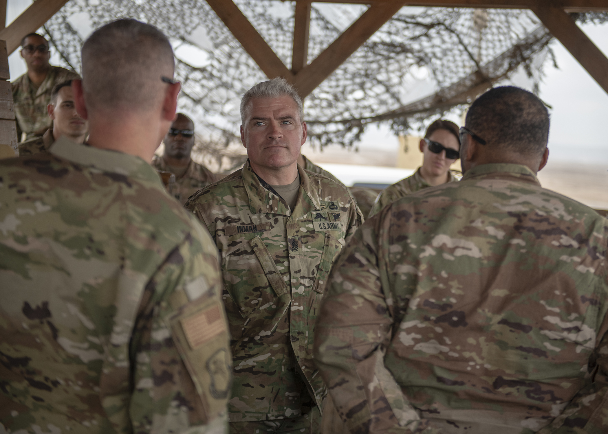 U.S. Army Command Sgt. Maj. Jeremiah E. Inman, command sergeant major of U.S. Army Africa (USARAF), meets with Soldiers assigned to Combined Joint Task Force-Horn of Africa (CJTF-HOA), during Inman's visit to a forward operating location in East Africa, March 12, 2019. Inman visited to familiarize himself with the U.S. Army units embedded in CJTF-HOA and to help foster a better partnership between USARAF and CJTF-HOA. (U.S. Air Force photo by Tech. Sgt. Shawn Nickel)