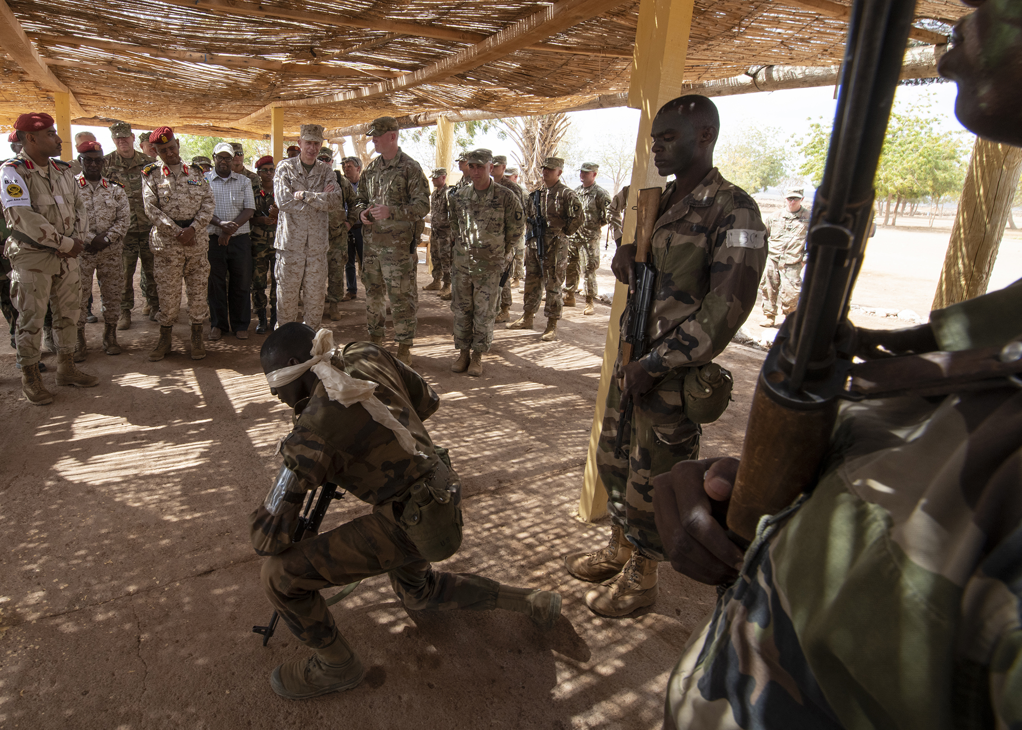 U.S. Marine Corps Gen. Thomas D. Waldhauser, commander of U.S. Africa Command, watches a demonstration by a soldier assigned to the Rapid Intervention Battalion, the Djiboutian army's elite military force, during a visit with senior Djiboutian officials, including Chief of General Staff of the Djibouti Armed Forces Gen. Zakaria Cheik Ibrahim, at a training base in Djibouti, March 21, 2019. Waldhauser visited in order to discuss the growth and development of Djiboutian security forces. (U.S. Air Force photo by Tech. Sgt. Shawn Nickel)