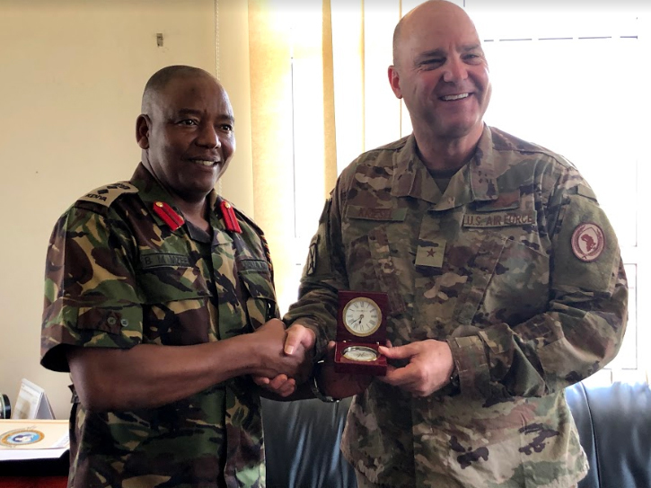 U.S. Air Force Brig. Gen. James R. Kriesel, deputy commanding general, Combined Joint Task Force-Horn of Africa (CJTF-HOA), poses for a photo with Kenyan Army Col. Benedict Manjewa Mzee, Humanitarian and Peace Support School Commandant, in Nairobi, Kenya, April 2, 2019. Kriesel visited the Kenyan capital of Nairobi, April 2-3, 2019, as part of a familiarization tour of the CJTF-HOA combined joint operations area. (U.S. Air Force photo by Capt. Sharya Qureshi)