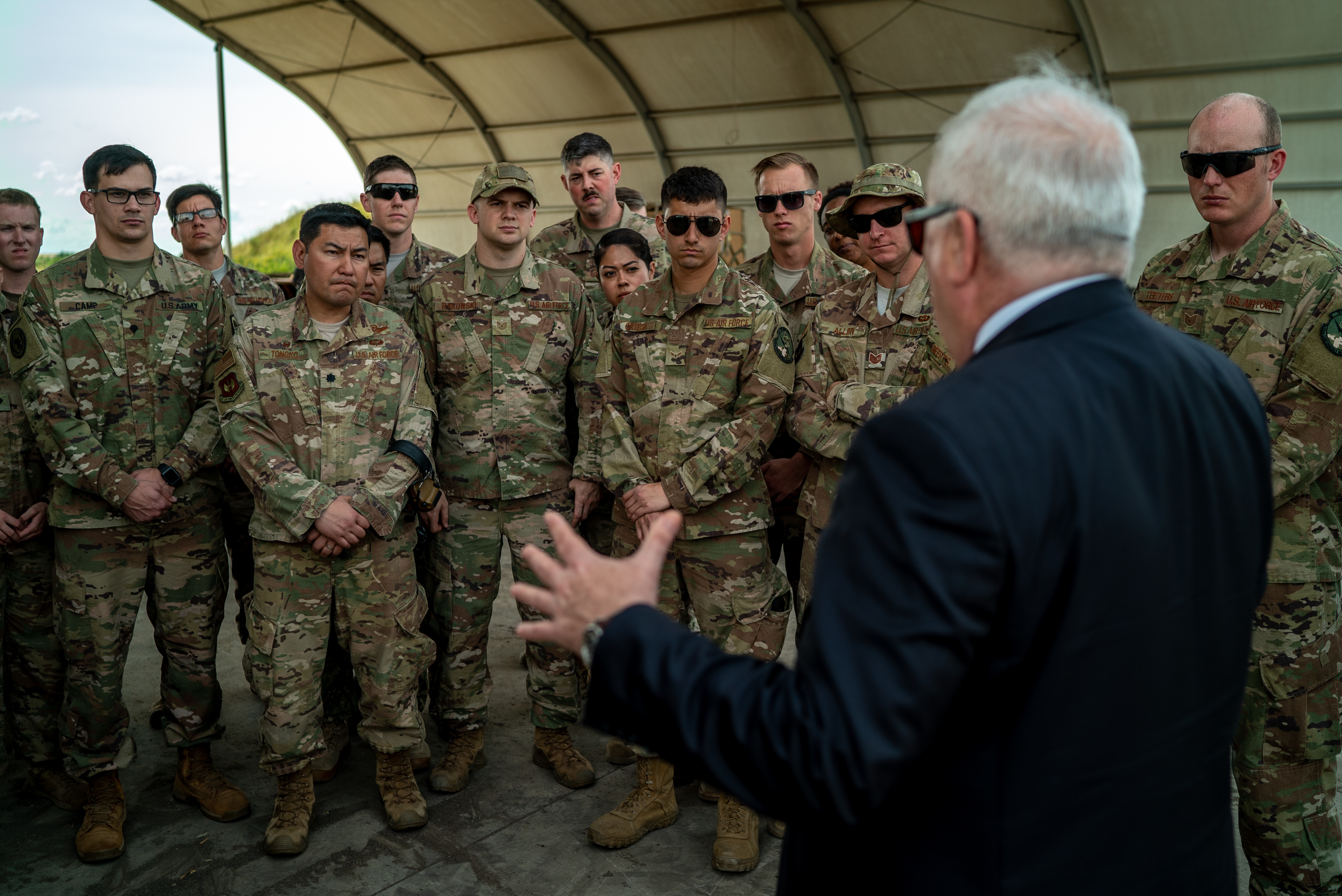 Dennis Walter Hearne, U.S. Ambassador to the Republic of Mozambique, speaks to U.S. service members assigned to Combined Joint Task Force-Horn of Africa (CJTF-HOA) in Maputo, Mozambique, April 11, 2019. CJTF-HOA led U.S. Department of Defense Cyclone Idai relief efforts in support of U.S. Agency for International Development's (USAID) Disaster Assistance Response Team. The task force helped meet requirements identified by USAID assessment teams and humanitarian organizations working in the region by providing logistics support and manpower to USAID at the request of the Government of the Republic of Mozambique. (U.S. Air Force photo by Tech. Sgt. Thomas Grimes)