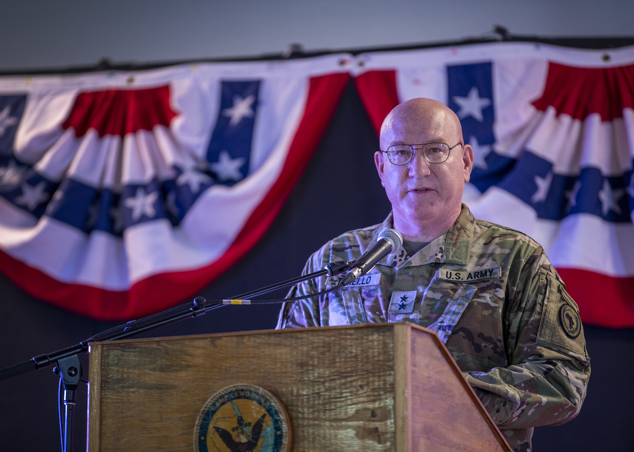 U.S. Army Maj. Gen. Michael D. Turello, commanding general, Combined Joint Task Force-Horn of Africa (CJTF-HOA), gives remarks during a change of command ceremony at Camp Lemonnier, Djibouti, June 12, 2019. Turello will now be responsible for overseeing CJTF-HOA's efforts in continuing to develop enduring partnerships, helping to build the defense capabilities of African partners and regional organizations, and the ongoing efforts to deter and defeat threats operating in Africa. (U.S. Air Force photo by Tech. Sgt. Shawn Nickel)