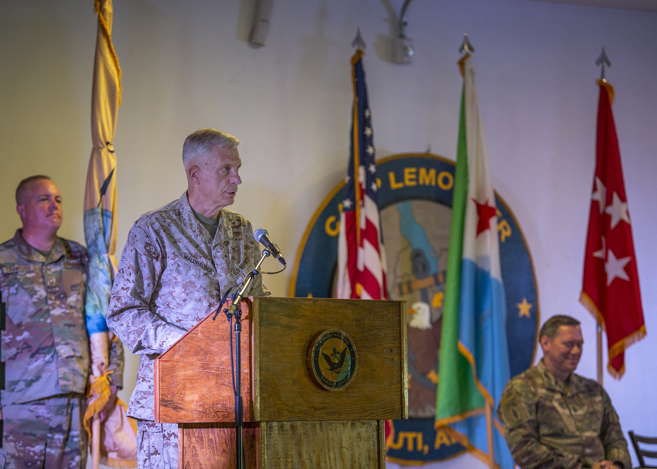 U.S. Marine Corps Gen. Thomas Waldhauser, commander of U.S. Africa Command, gives remarks during a change of command ceremony for Combined Joint Task Force-Horn of Africa (CJTF-HOA) at Camp Lemonnier, Djibouti, June 12, 2019. U.S. Army Maj. Gen. James D. Craig, outgoing commanding general of CJTF-HOA, transferred responsibility to U.S. Army Maj. Gen. Michael D. Turello in the ceremony with Waldhauser as the presiding officer. (U.S. Air Force photo by Tech. Sgt. Shawn Nickel)