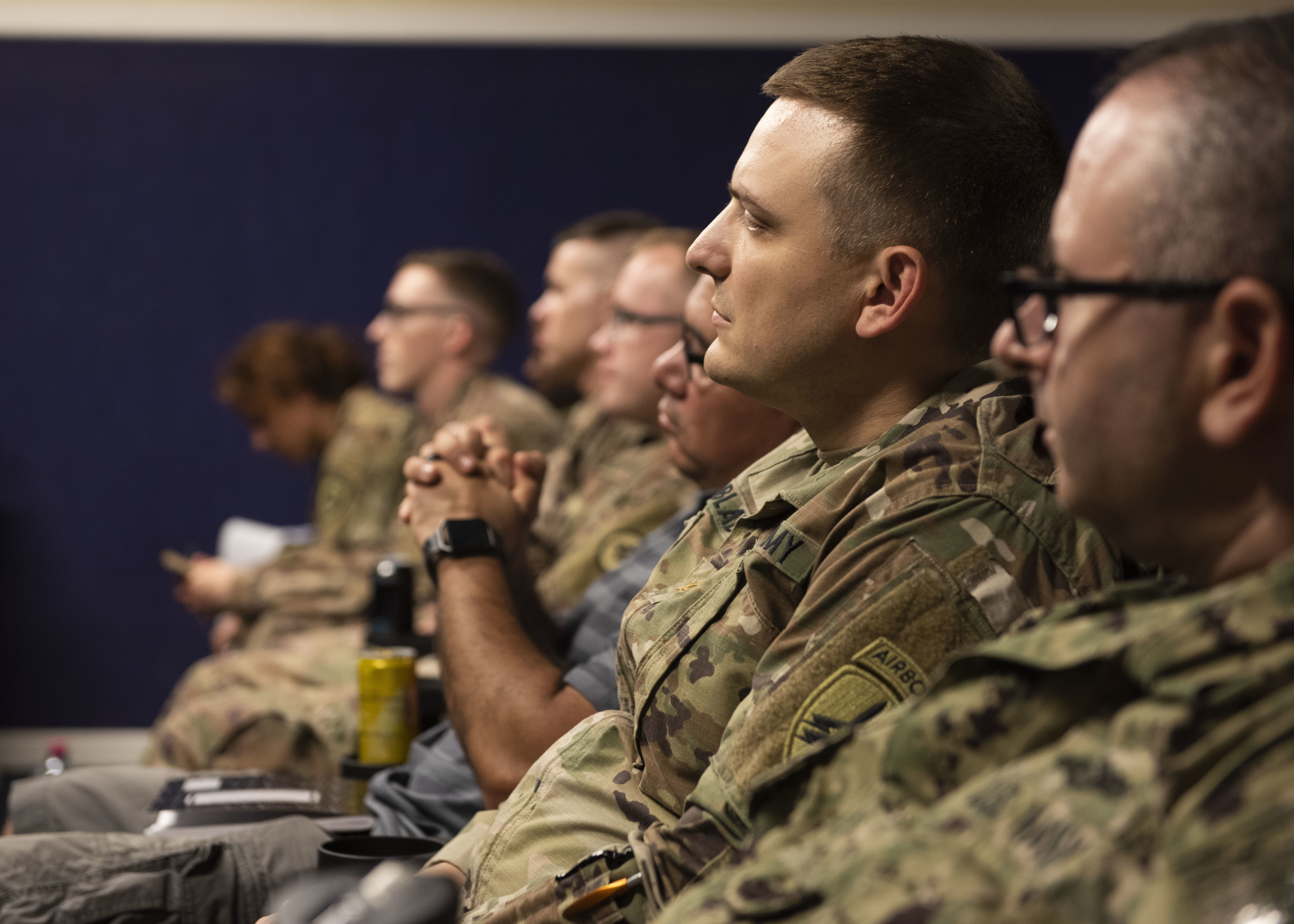 Combined Joint Task Force-Horn of Africa service members listen to a brief during a Fundamentals of Global Health Engagement (FOGHE) course at Camp Lemonnier, Djibouti, June 11, 2019. The FOGHE is a three-day course to improve understanding of the full array of issues surrounding and shaping global health engagements. (U.S. Air Force photo by Staff Sgt. Franklin R. Ramos)