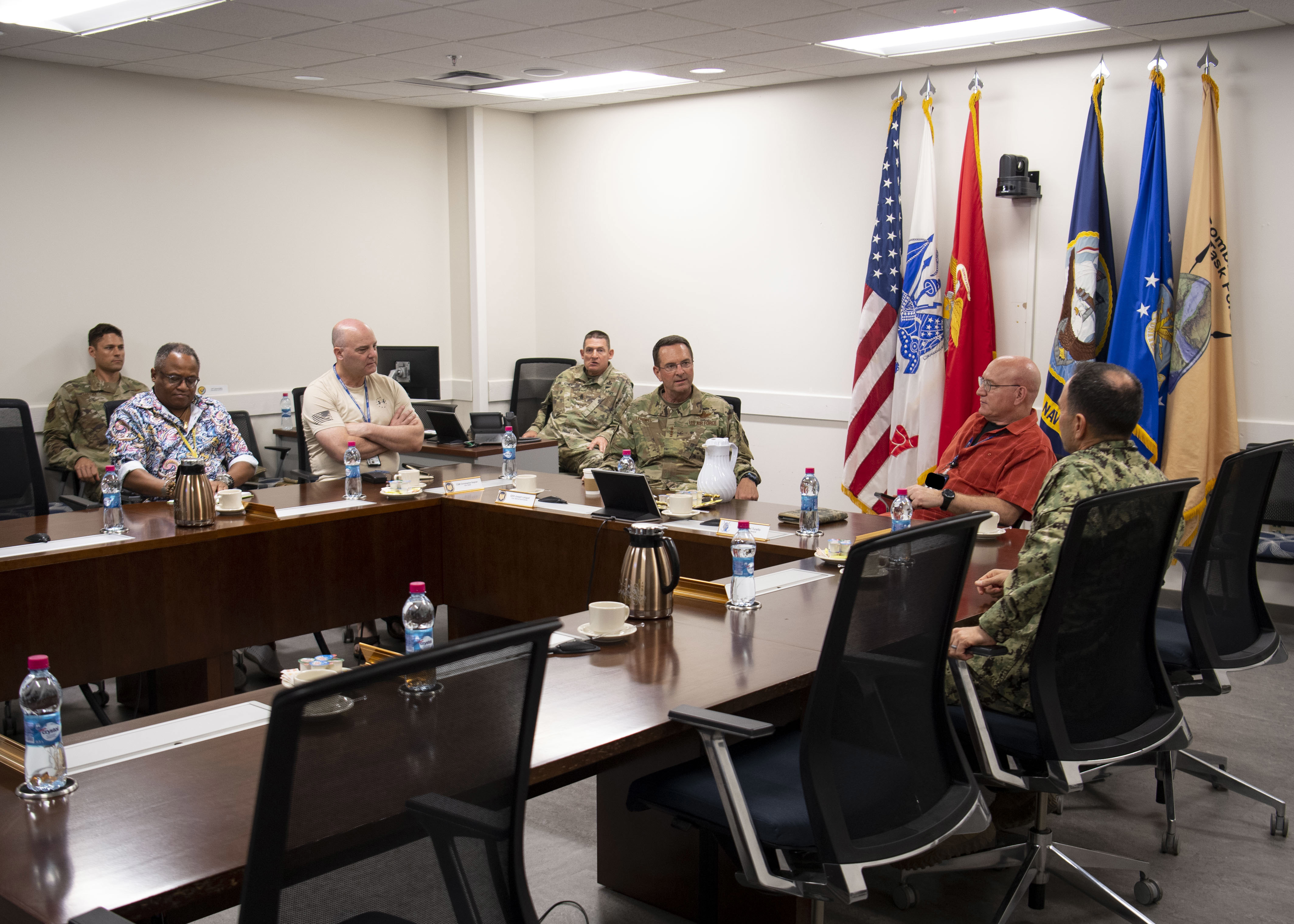 U.S. Air Force Gen. Joseph Lengyel, chief of the National Guard Bureau, speaks with Combined Joint Task Force-Horn of Africa and Camp Lemonnier leadership at Camp Lemonnier, Djibouti, July 7, 2019. While visiting, Lengyel toured the installation and learned about the various missions that take place on Camp Lemonnier. (U.S. Air Force photo by Staff Sgt. J.D. Strong II)