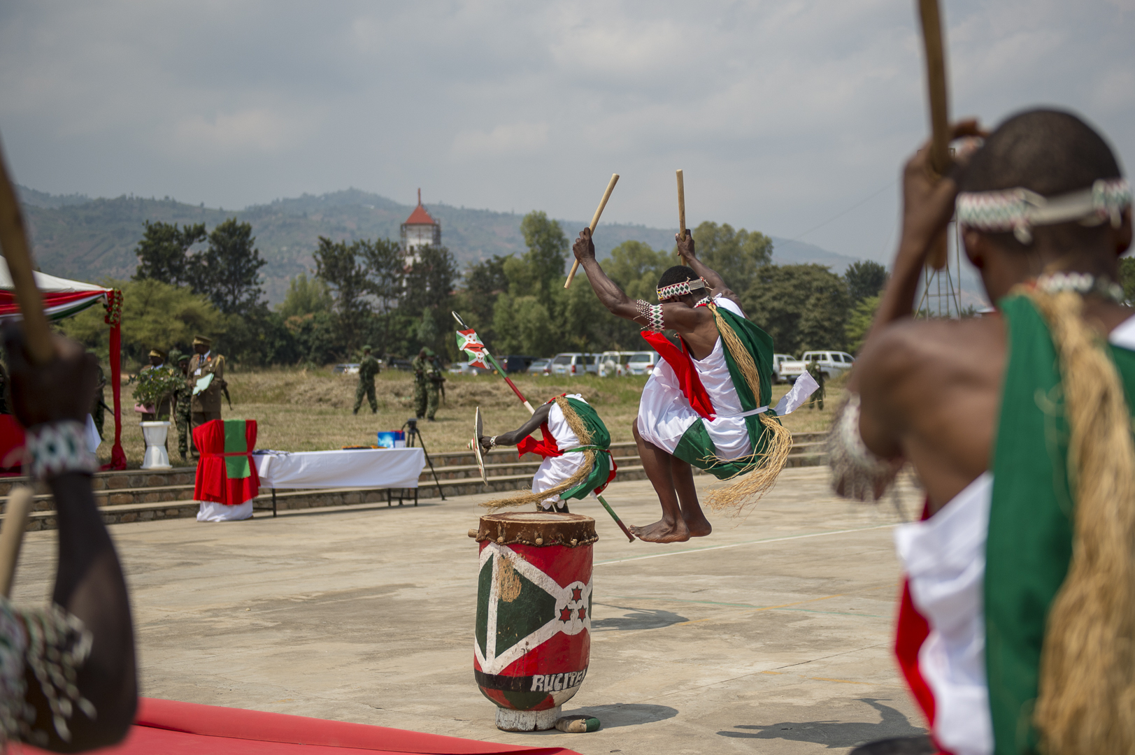 Members of the Royal Drummers of Burundi perform at the graduation of the Burundi National Defence Force Senior Command and Staff College in Bujumbura, Burundi, July 19, 2019. The Royal Drummers of Burundi use drums made from hollowed tree trunks covered with animal skins. (U.S. Air Force Photo by Senior Airman Codie Trimble)