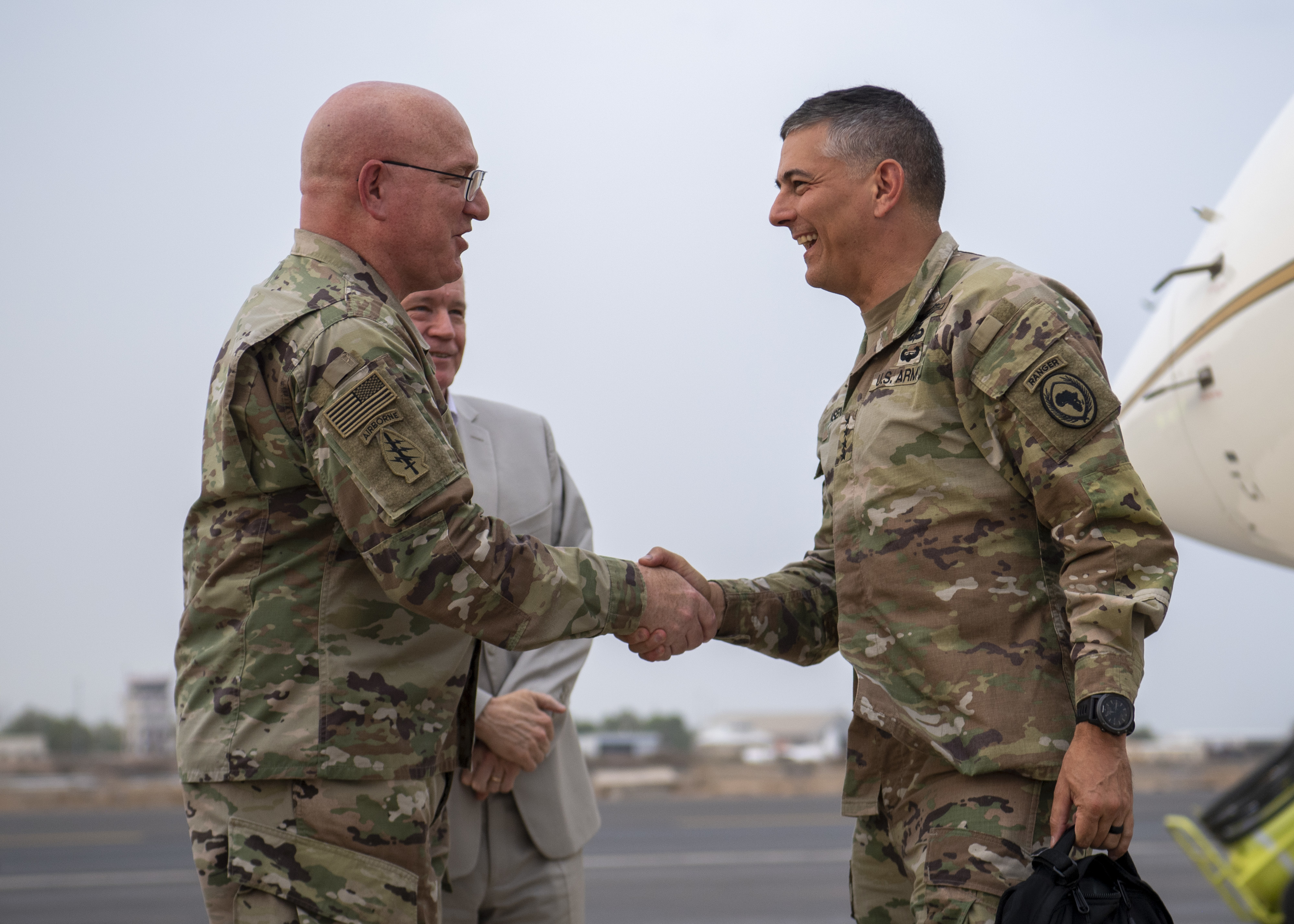 U.S. Army Gen. Stephen J. Townsend, commander, U.S. Africa Command (AFRICOM), right, is greeted by U.S. Army Maj. Gen. Michael Turello, commanding general, Combined Joint Task Force-Horn of Africa (CJTF-HOA), at Camp Lemonnier, Djibouti, August 5, 2019. Townsend took command of AFRICOM on July 26, 2019. As commander of AFRICOM Townsend is in charge of military relations with African nations, the African Union and African regional security organizations. Townsend visited Djibouti as part of his familiarization of CJTF-HOA. (U.S. Air Force photo by Staff Sgt. J.D. Strong II)