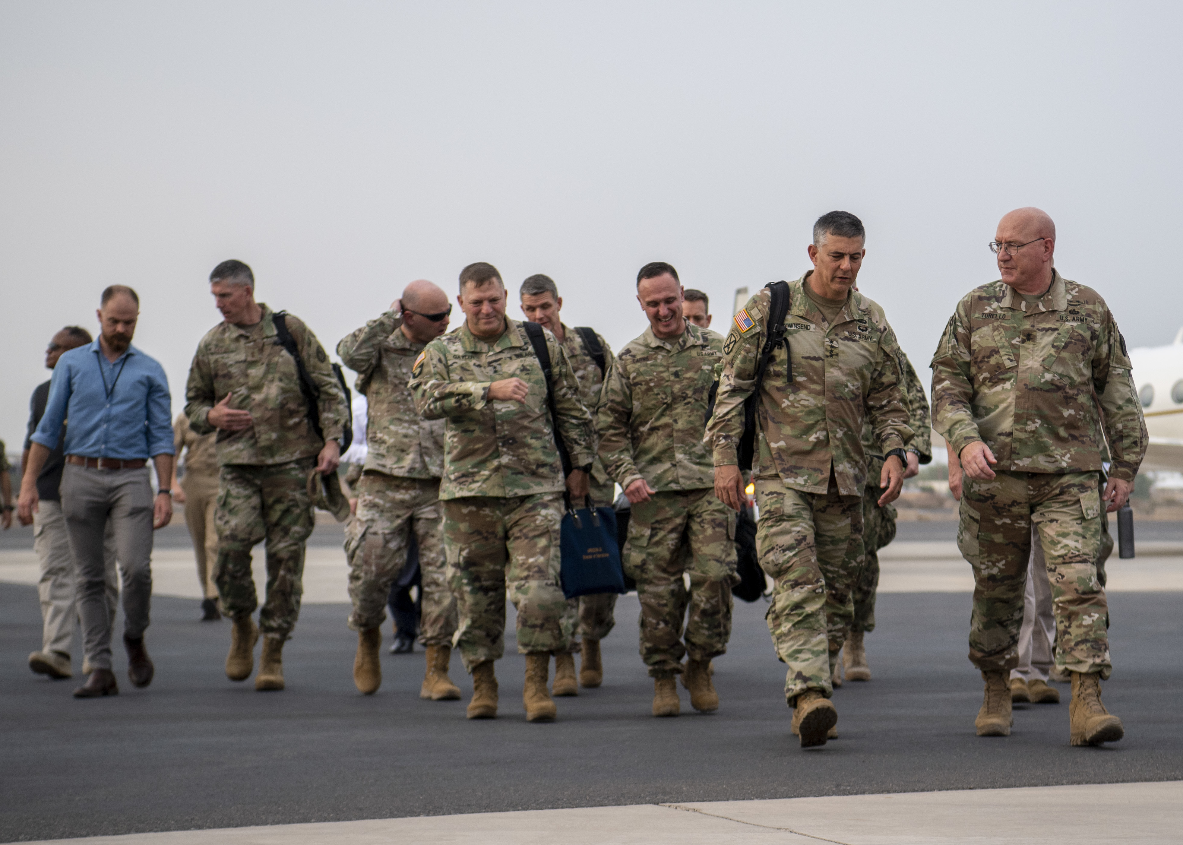 U.S. Army Gen. Stephen J. Townsend, commander, U.S. Africa Command (AFRICOM), left, is escorted while touring Camp Lemonnier by U.S. Army Maj. Gen. Michael Turello, commanding general, Combined Joint Task Force-Horn of Africa (CJTF-HOA), at Camp Lemonnier, Djibouti, August 5, 2019. As commander of AFRICOM Townsend is in charge of military relations with African nations, the African Union and African regional security organizations. Townsend visited Djibouti as part of his familiarization of CJTF-HOA. (U.S. Air Force photo by Staff Sgt. J.D. Strong II)