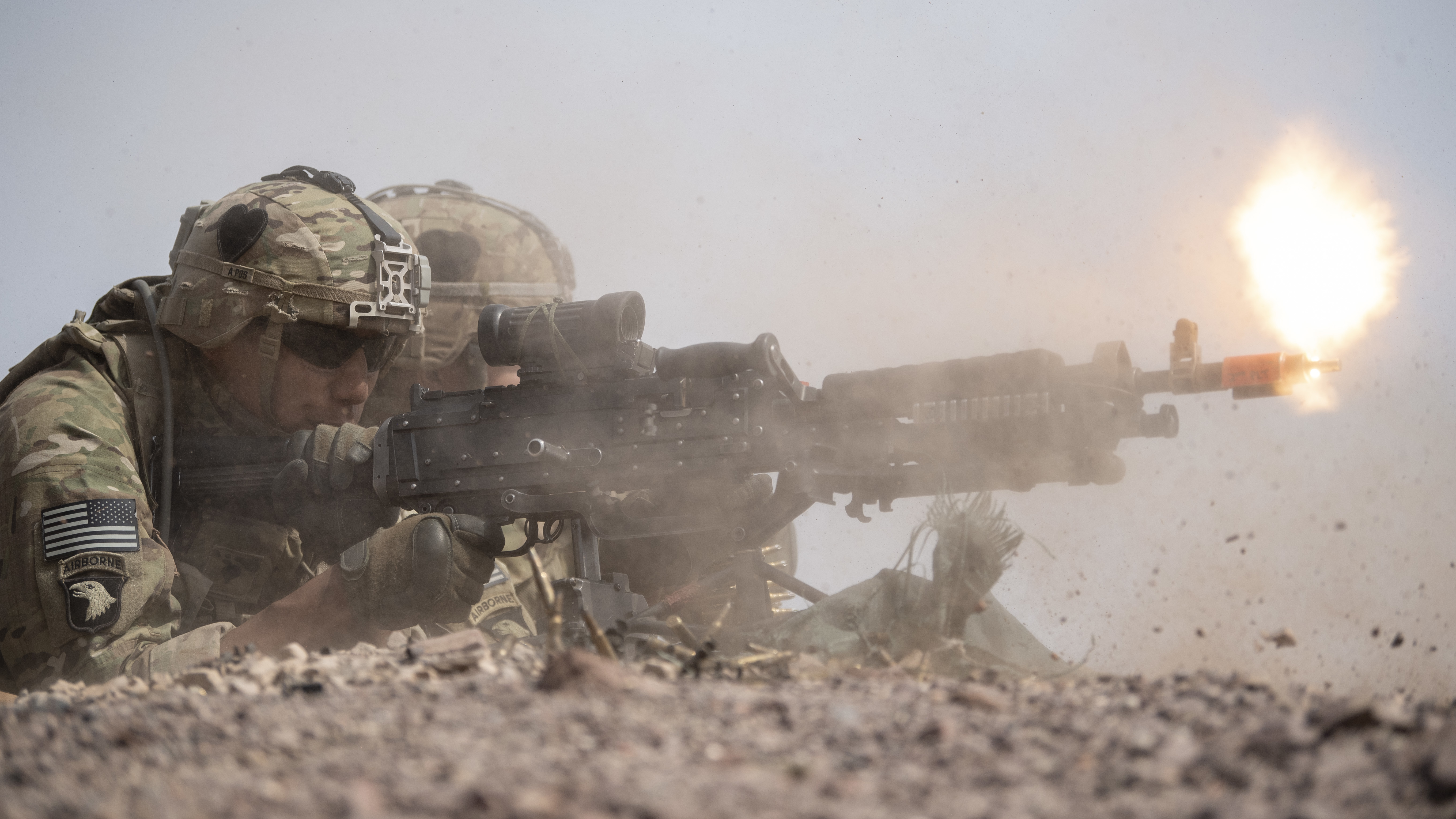 U.S. Army Soldiers from the East African Response Force (EARF), deployed in support of Combined Joint Task Force-Horn of Africa, fire an M-240 bravo machine gun during a live-fire exercise at Arta Range, Djibouti, Aug. 26, 2019. The EARF conducts live fires as part of their readiness and squad certifications. (U.S. Air Force photo by Staff Sgt. J.D. Strong II)