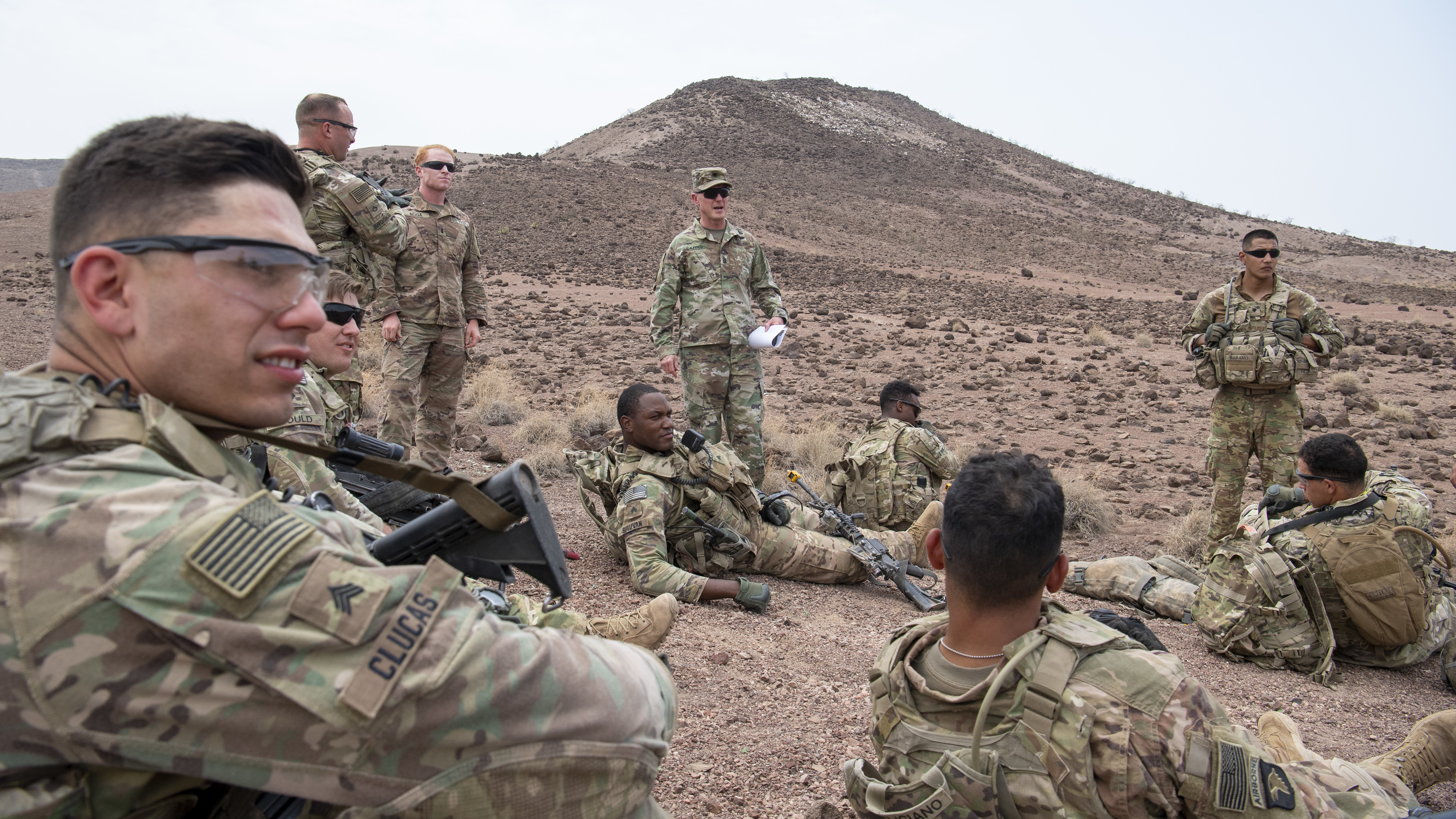 U.S. Army Command Sgt. Maj. Shawn Carns, command senior enlisted leader (SEL), Combined Joint Task Force-Horn of Africa (CJTF-HOA), visits U.S. Army Soldiers from the East Africa Response Force (EARF), deployed in support of CJTF-HOA, during his battlefield circulation visit at Arta Range, Djibouti, Aug. 26, 2019. Battlefield circulation visits allow Carns to meet with units within CJTF-HOA's combined joint operations area for familiarization and rapport-building. (U.S. Air Force photo by Staff Sgt. J.D. Strong II)
