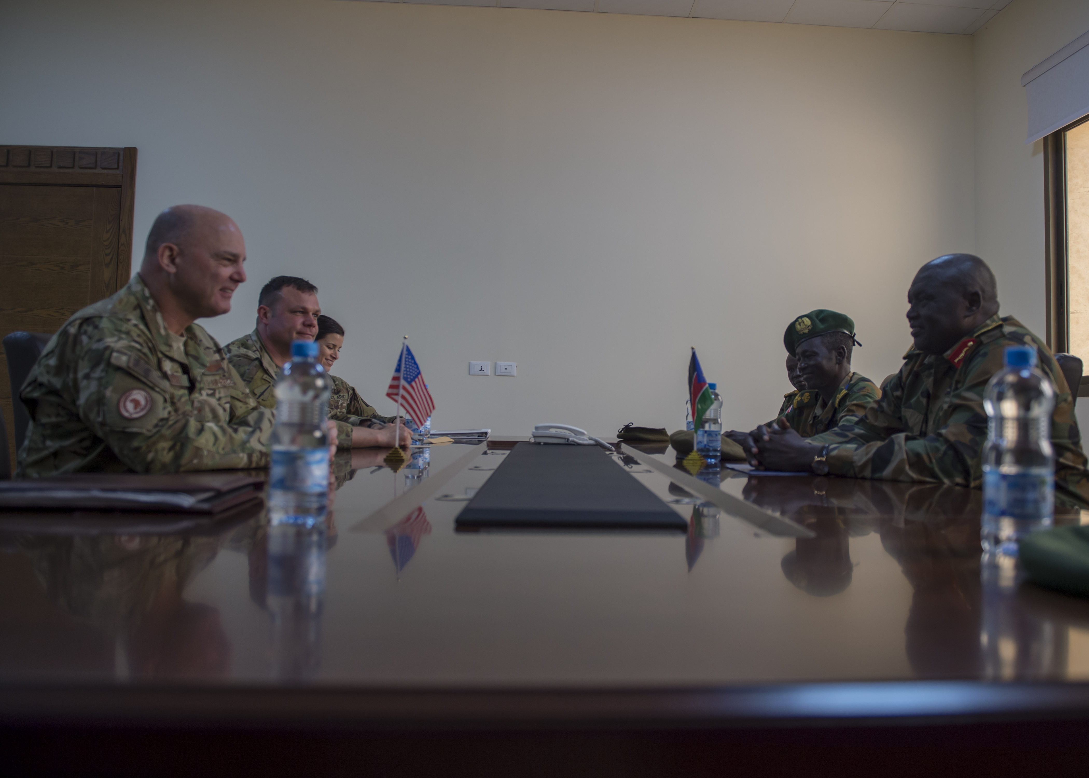U.S. Air Force Brig. Gen. James R. Kriesel, deputy commanding general of Combined Joint Task Force-Horn of Africa (CJTF-HOA), meets with South Sudan People's Defence Forces (SSPDF) chief of military intelligence, Maj. Gen. Rin Tueny Mabor, August 15, 2019. The meeting marks the first time a United States General had visited with the SSPDF in South Sudan. (U.S. Air Force Photo by Senior Airman Codie Trimble)