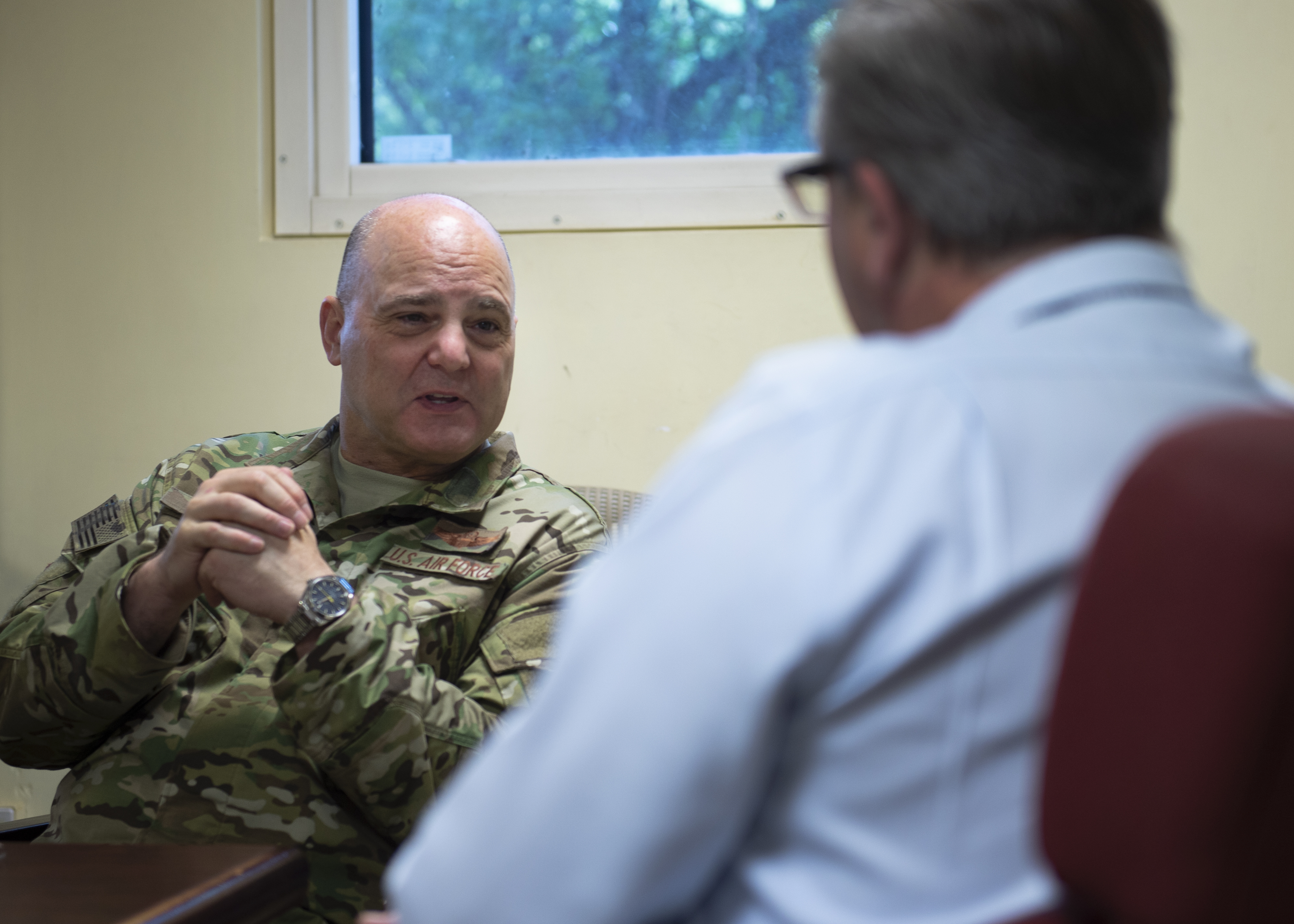 U.S. Air Force Brig. Gen. James R. Kriesel, deputy commanding general of Combined Joint Task Force-Horn of Africa (CJTF-HOA), meets with James Hope, United Stated Agency for International Development (USAID) country director, in Juba, South Sudan, Aug. 15, 2019. Kriesel and Hope discussed the kinds of assistance that USAID is providing the country, mainly through food aid. (U.S. Air Force Photo by Senior Airman Codie Trimble)