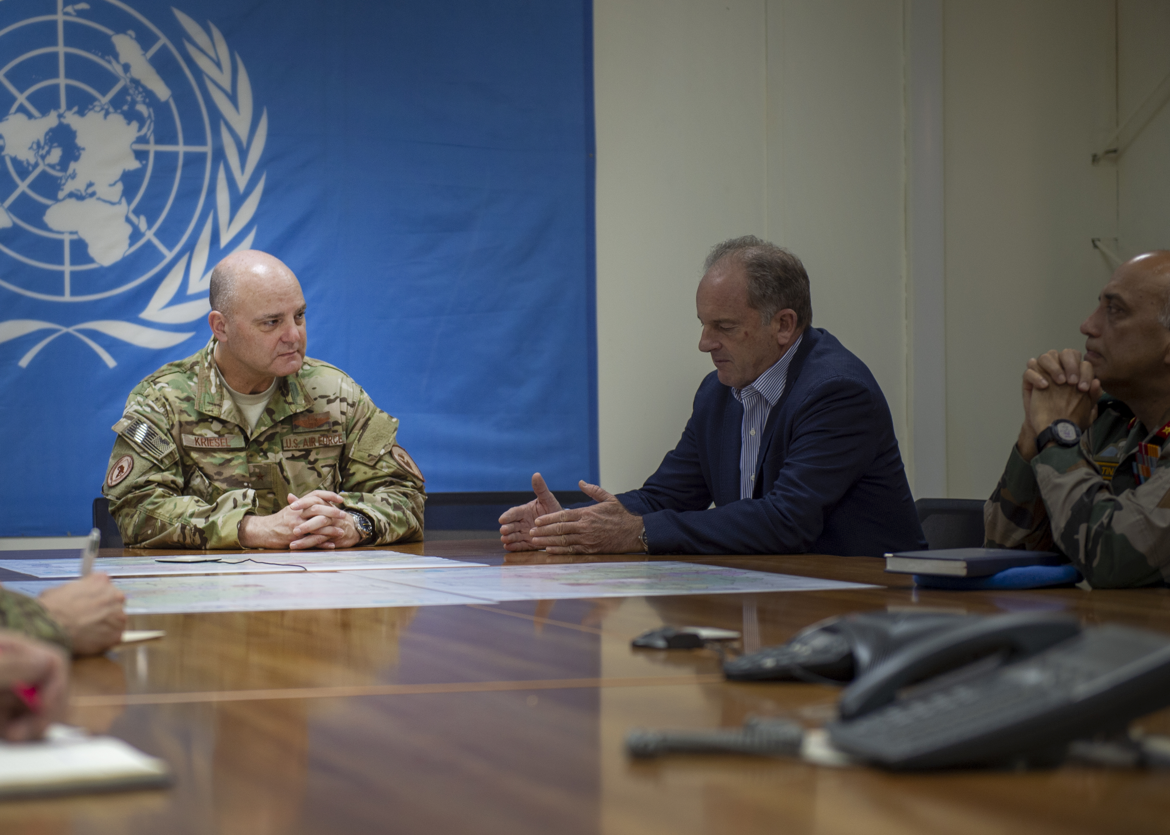 U.S. Air Force Brig. Gen. James R. Kriesel, deputy commanding general of Combined Joint Task Force-Horn of Africa (CJTF-HOA), meets with David Shearer, special representative of the Secretary-General for South Sudan and head of the United Nations Mission in South Sudan (UNMISS), in Juba, South Sudan, Aug. 15, 2019. UNMISS has 14,000 peacekeepers, police, security and civilian personnel from at least 60 different countries working to deter violence against civilians by providing a safe and secure environment for South Sudanese people. (U.S. Air Force Photo by Senior Airman Codie Trimble)