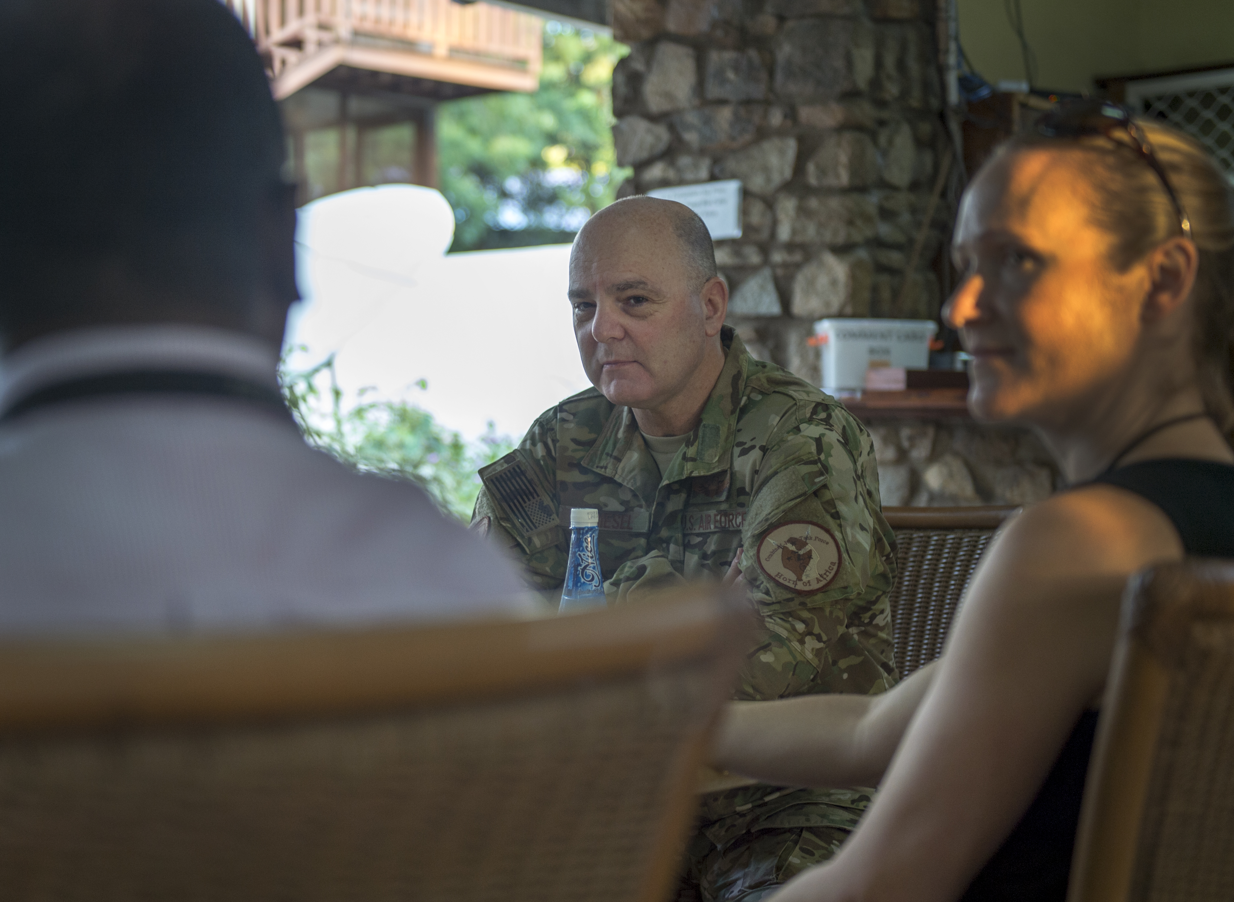 U.S. Air Force Brig. Gen. James R. Kriesel, deputy commanding general of Combined Joint Task Force-Horn of Africa (CJTF-HOA), meets with doctors from the Center for Disease Control (CDC) in Juba, South Sudan, Aug. 14, 2019. Kriesl and the CDC team discussed the progress CJTF-HOA is helping South Sudan make through CJTF-HOA's medical civil action projects with the citizens of South Sudan. (U.S. Air Force Photo by Senior Airman Codie Trimble)