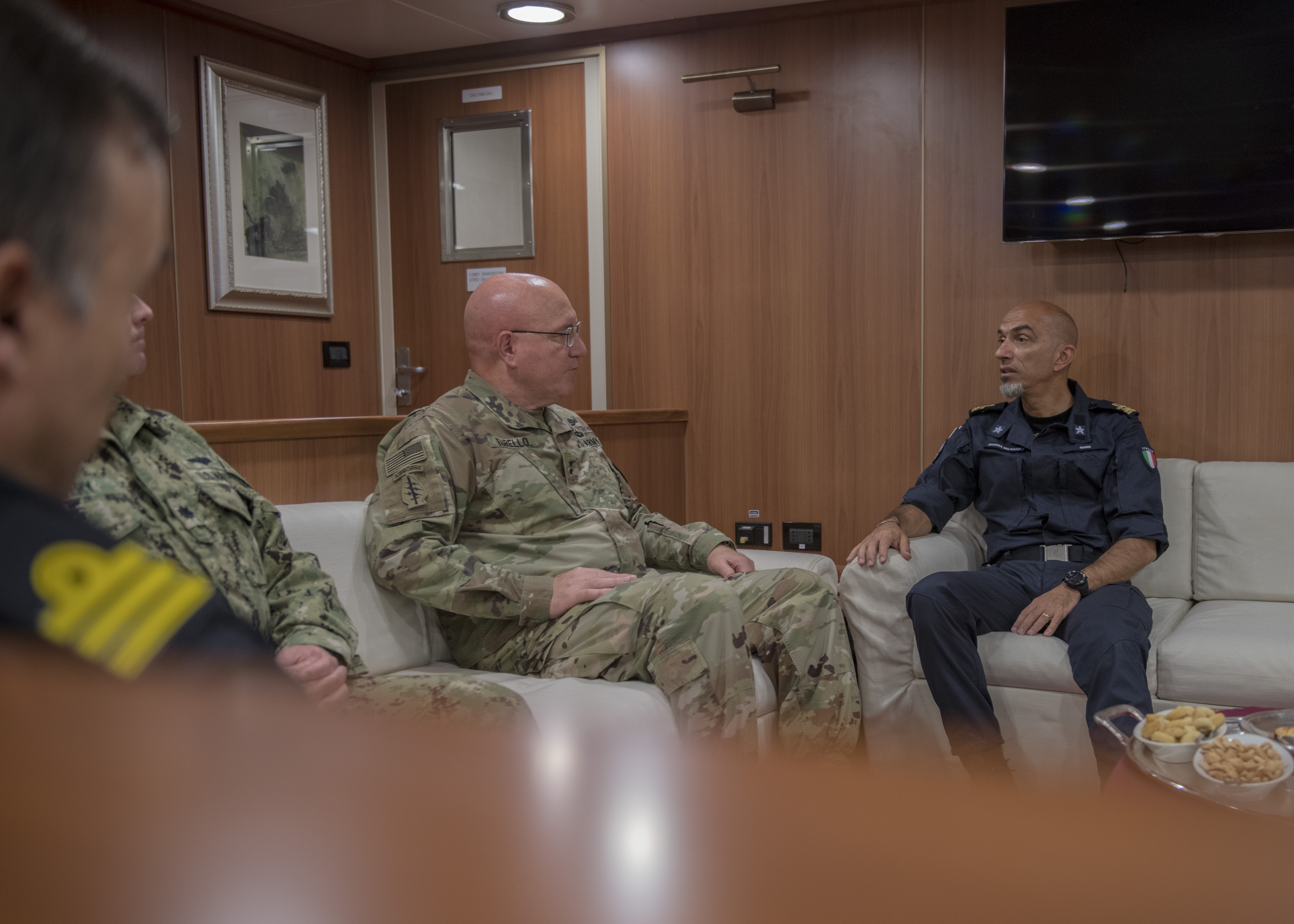 U.S. Army Maj. Gen. Michael D. Turello, commanding general of Combined Joint Task Force-Horn of Africa, meets with Italian Navy Rear Admiral Armando Paolo Simi, force commander of Operation Atalanta, outside Djibouti City, Djibouti, Oct. 21, 2019. Operation Atalanta is a counter-piracy naval military operation off the Horn of Africa. (U.S. Air Force Photo by Senior Airman Codie Trimble)