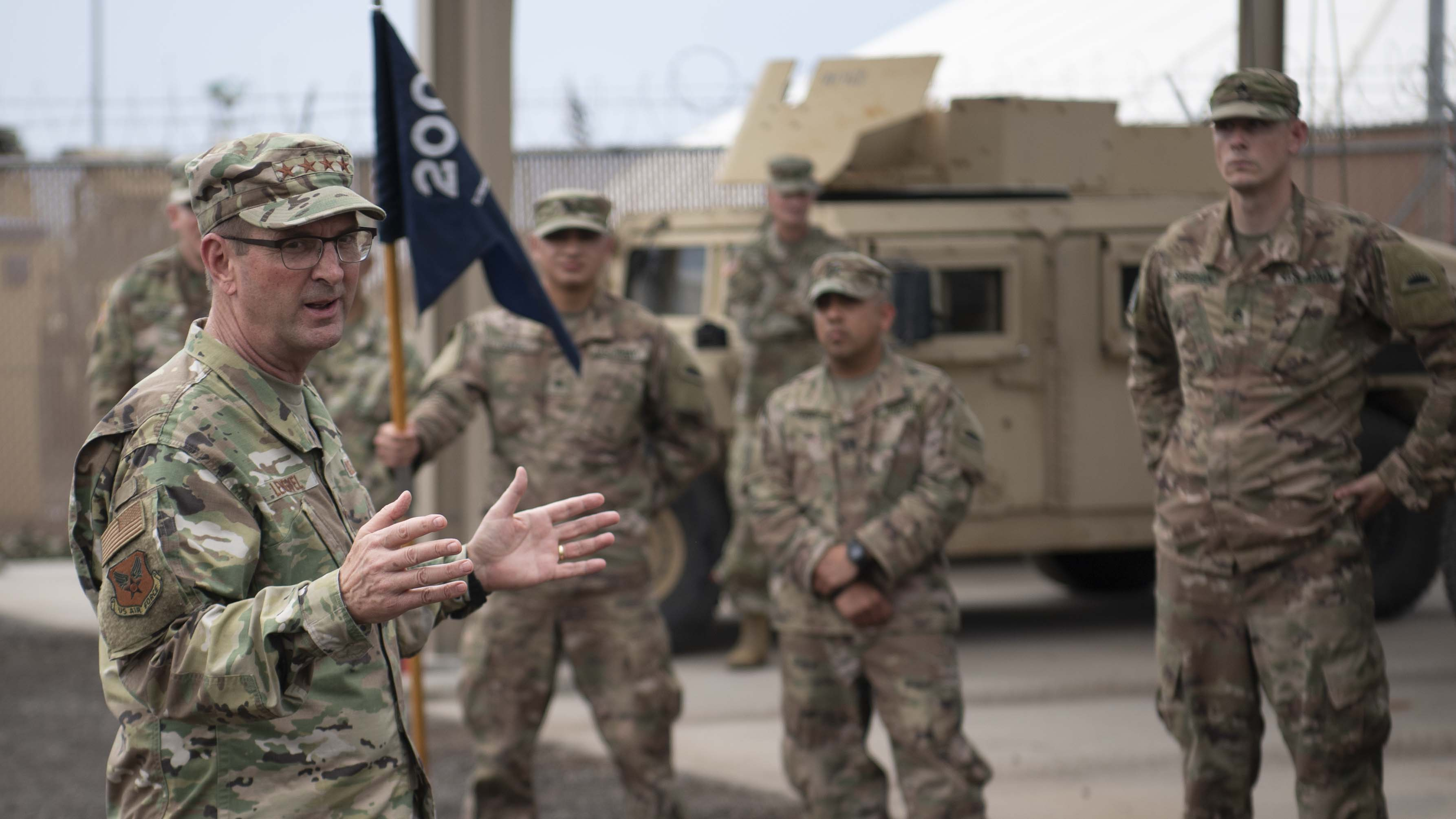 U.S. Air Force Gen. Joseph Lengyel, chief, National Guard Bureau, speaks to U.S. soldiers assigned to Combined Joint Task Force-Horn of Africa, Task Force-Guardian at Camp Lemonnier, Djibouti, Nov. 28, 2019. Lengyel visited Camp Lemonnier to meet with deployed National Guardsmen and other service members. (U.S. Air Force photo by Staff Sgt. J.D. Strong II)