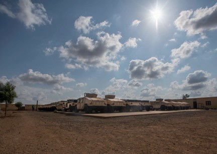 Humvee's sit on helicopter pads waiting to be inventoried at the RIB compound outside Djibouti City, Djibouti, on Dec. 26th. The U.S. delivered 54 Humvees to the RIB as part of a $31 million train-and-equip partnership between the U.S. government and the Djiboutian military. (U.S. Air Force Photo by Senior Airman Codie Trimble)