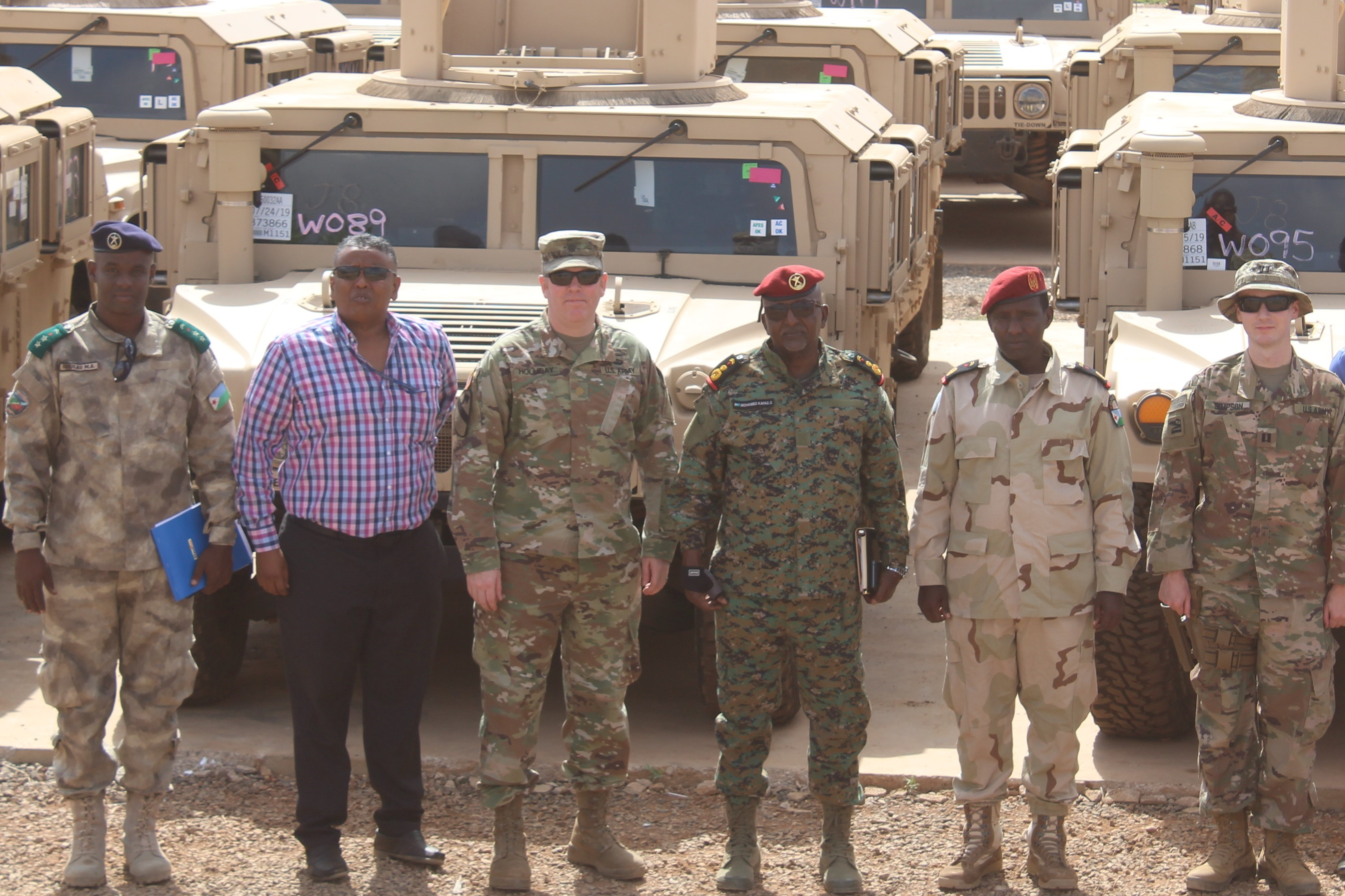The U.S. delivered 54 Humvees to the RIB as part of a $31 million train-and-equip partnership between the U.S. government and the Djiboutian military. (U.S. Air Force Photo by Senior Airman Codie Trimble)