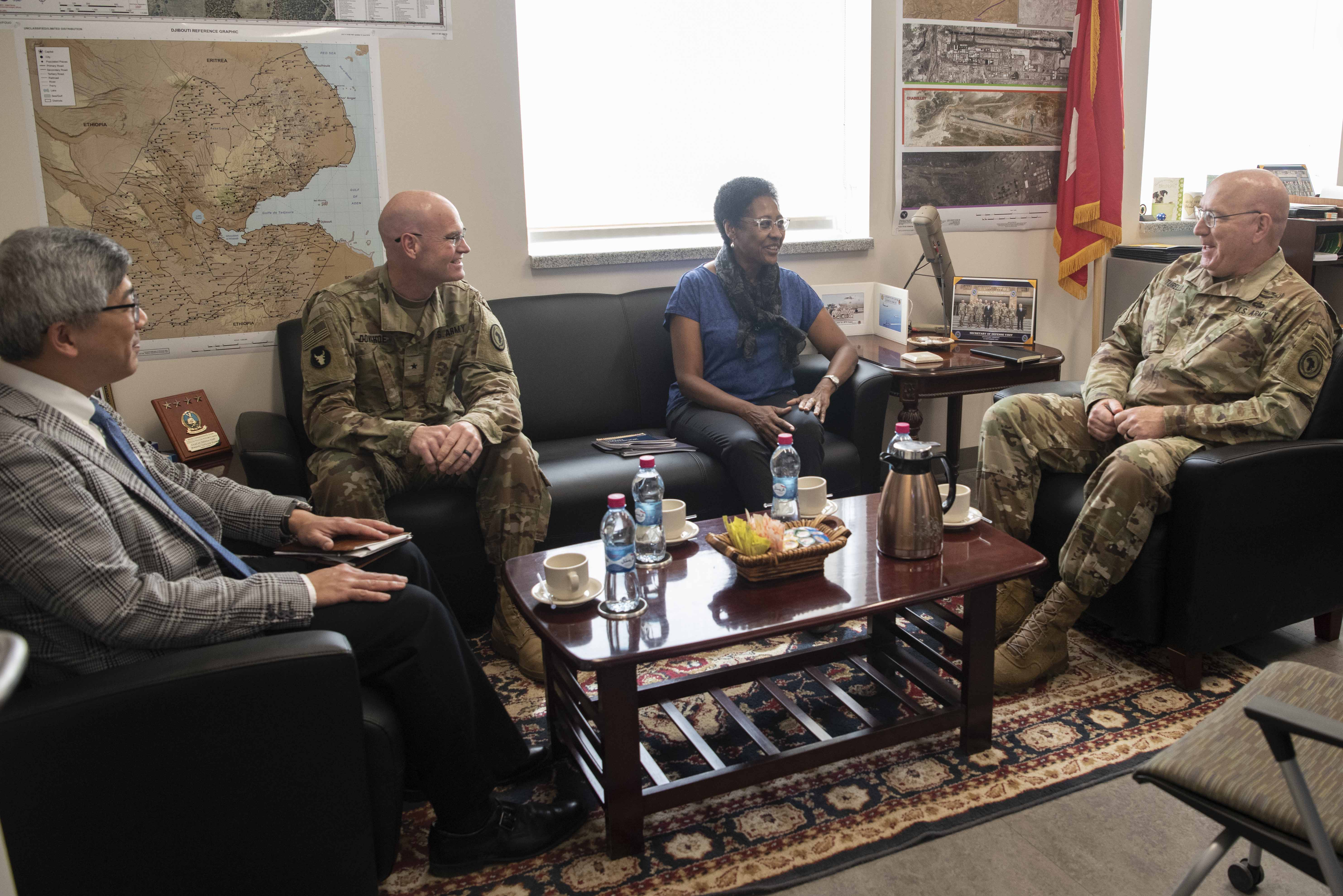 U.S. Army Maj. Gen. Michael D. Turello, commanding general of Combined Joint Task Force-Horn of Africa (CJTF-HOA), right, meets with Ambassador Eunice S. Reddick, Chargé d'affaires of the U.S. Embassy to Burundi, at Camp Lemonnier, Djibouti, Jan. 31, 2020. Reddick visited to learn more about the CJTF-HOA mission. (U.S. Air Force photo by Tech. Sgt. Ashley Nicole Taylor)