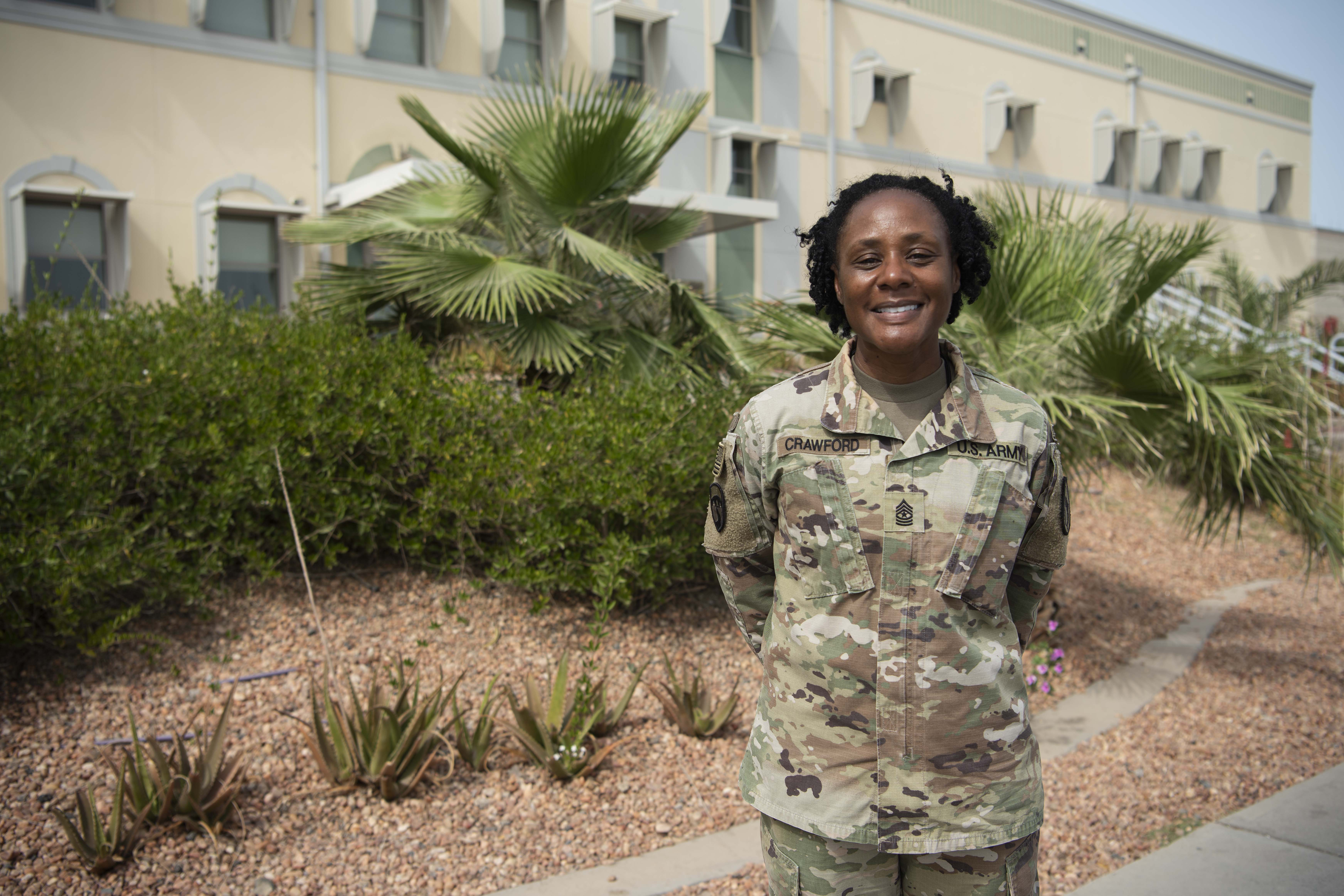 U.S. Army Sgt. Maj. Shadonika Crawford, equal opportunity advisor for Combined Joint Task Force-Horn of Africa (CJTF-HOA), photographed at Camp Lemonnier, Djibouti, Mar. 16, 2020. Crawford began her career as a signal soldier, transitioned to work in finance, and was selected to work in equal opportunity as a broadening assignment. Crawford is currently the highest ranking senior enlisted female in CJTF-HOA and has 29 years of service in the Army Reserve. (U.S. Air Force photo by Tech. Sgt. Ashley Nicole Taylor)