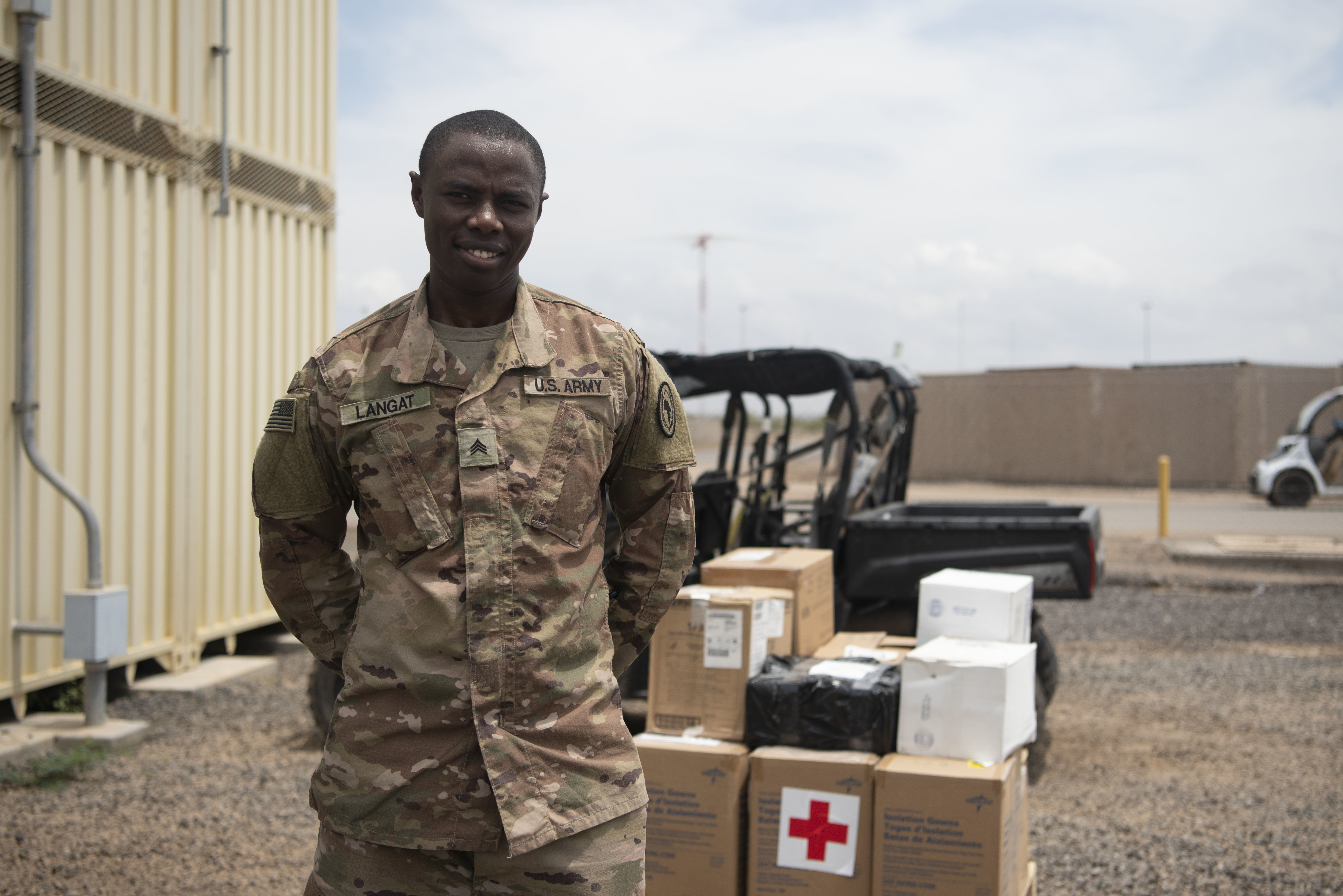A pallet of medical equipment awaits distribution from the Defense Logistics Agency (DLA) at Camp Lemonnier, Djibouti, Apr. 22, 2020. The medical equipment is part of Combined Joint Task Force-Horn of Africa's (CJTF-HOA) protective measures for COVID-19 to maintain the health of the force. (U.S. Air Force photo by Tech. Sgt. Ashley Nicole Taylor)